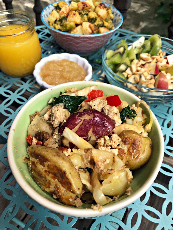 Vegan Breakfast Hash with Smashed Potatoes and Tofu