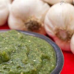 Roasted Tomatillo and Garlic Salsa gapey