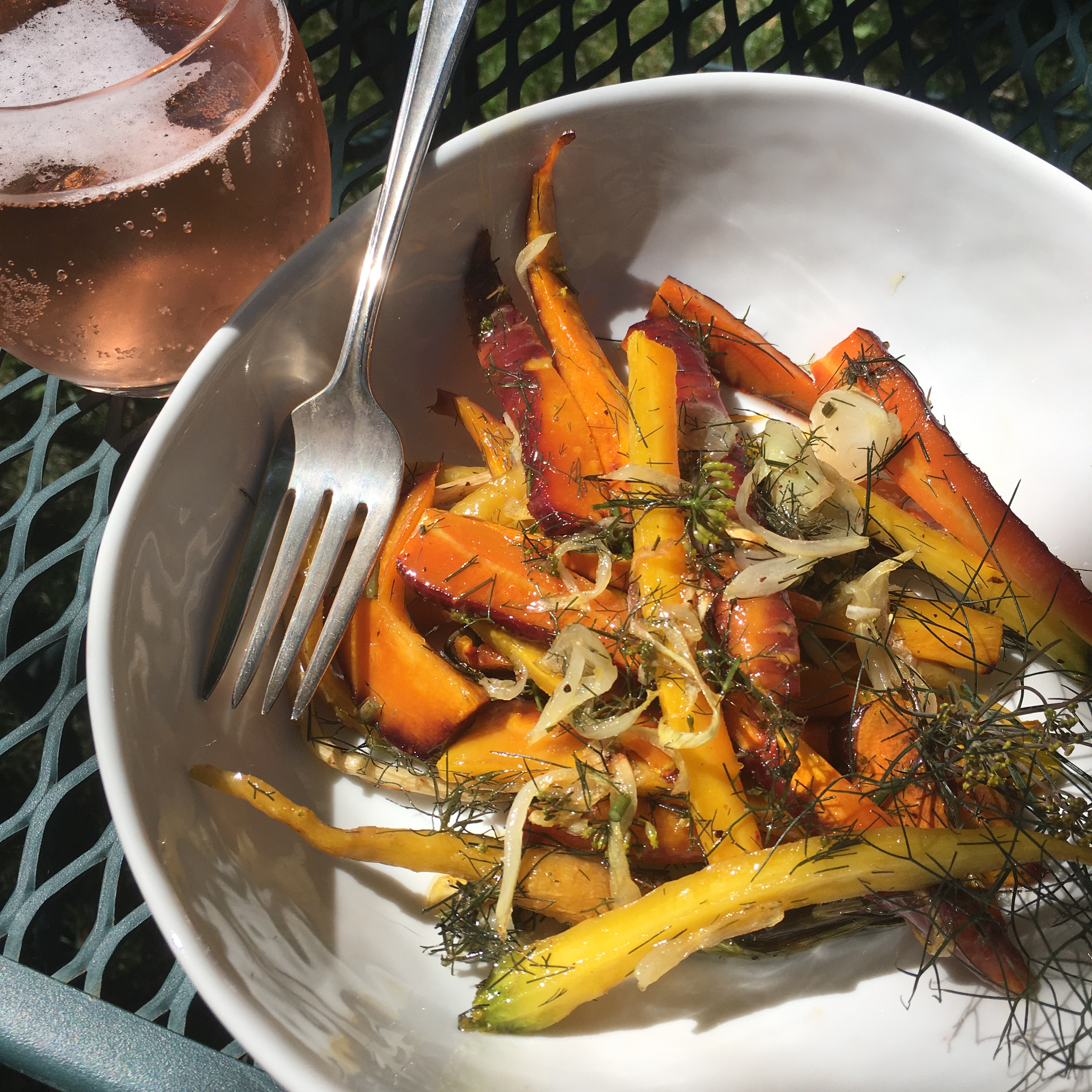 Roasted Carrots and Onions with Fennel Fronds and Honey alanna