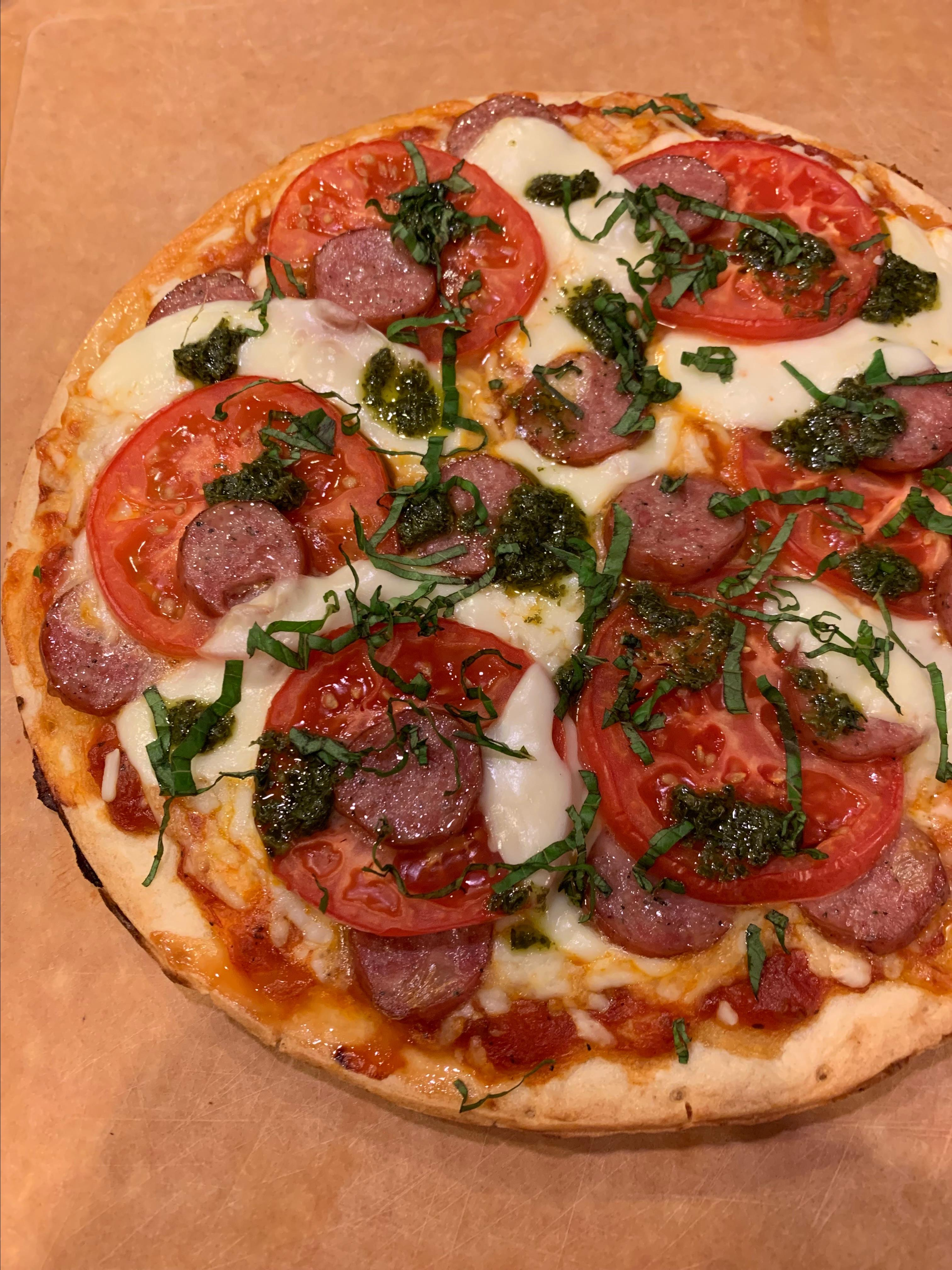 Margherita Pizza with Sausage and Pesto Howard
