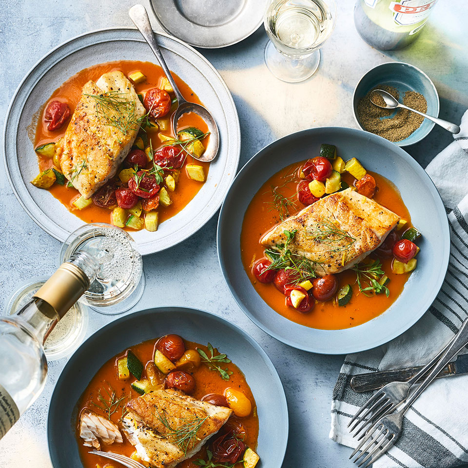Black bass has a delicate flavor that begs to be paired with something bold, like the cioppino-inspired jus in this healthy seafood recipe. The jus takes some time to make but we promise it's worth it. You'll have some left over: do as our editor-in-chief did and try it as a bloody mary base. Or use it to make risotto or a seafood stew. Source: EatingWell Magazine, October 2019