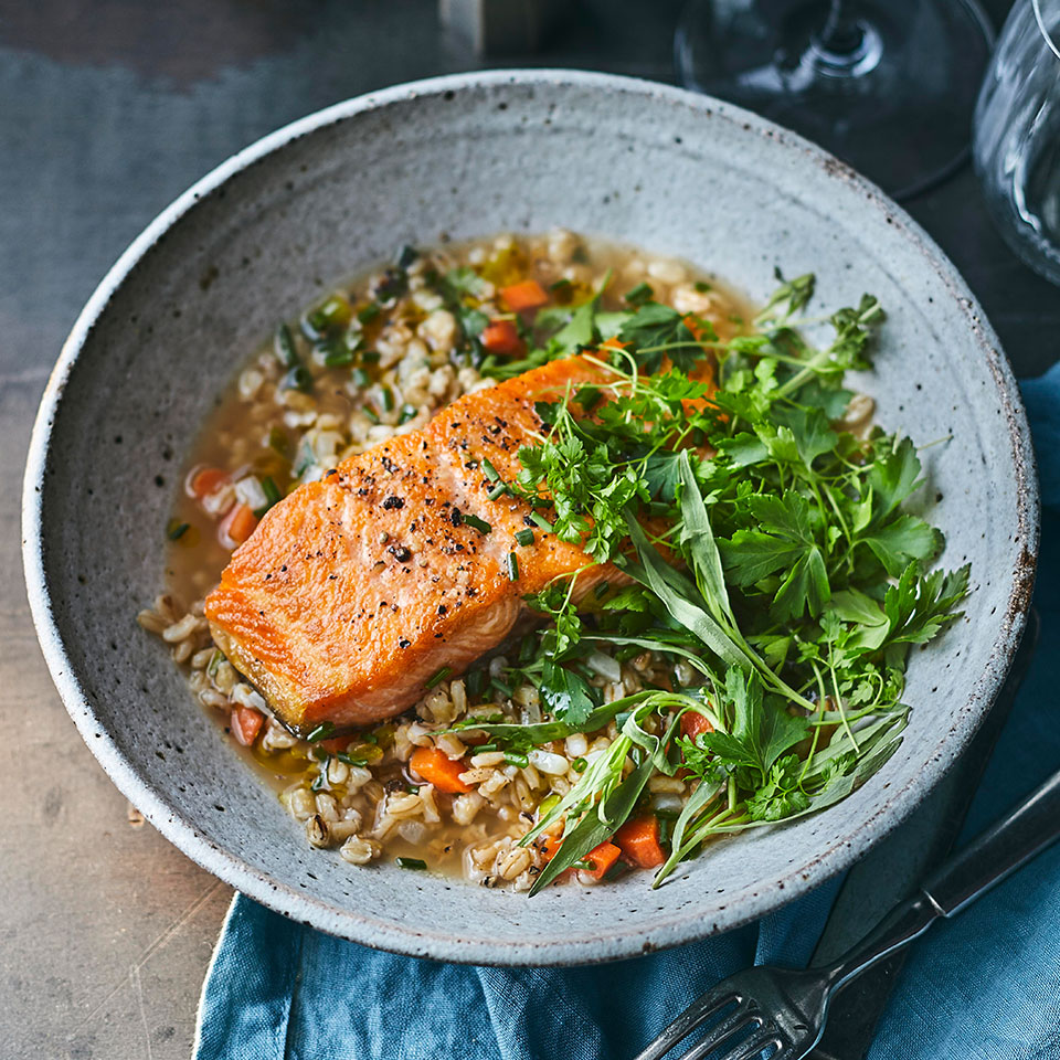 Steelhead Trout with Creamy Barley & Herb Salad