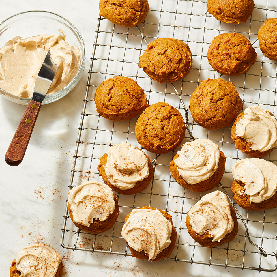 Indulge your PSL obsession with these pumpkin spice cookies. Instant espresso powder gives these soft, cakey cookies a subtle yet recognizable coffee flavor. Spread with cream cheese frosting (with more pumpkin pie spice flavors) and sprinkle with cinnamon to finish. And, go ahead, drink a pumpkin spice latte while you eat them for the full PSL experience. After all, it's only fall for so long (though we'd eat these cookies year-round). To make these cookies kid-friendly, simply omit the espresso powder. Source: EatingWell Magazine, October 2019