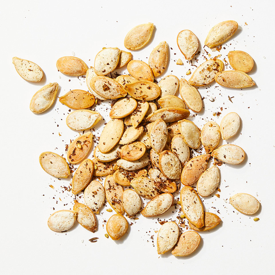 Za'atar (or zaatar)--a Middle-Eastern spice blend that's a mix of thyme, sumac, salt, sesame seeds and sometimes other herbs--livens up roasted pumpkin seeds. Source: EatingWell Magazine, October 2019