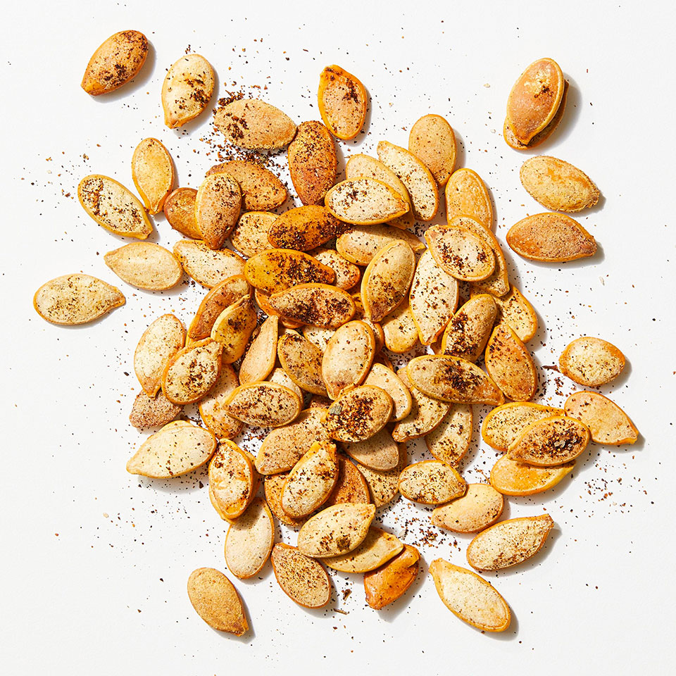 Smoked paprika and garlic powder punch up the flavor in this easy roasted pumpkin seeds recipe. Source: EatingWell Magazine, October 2019