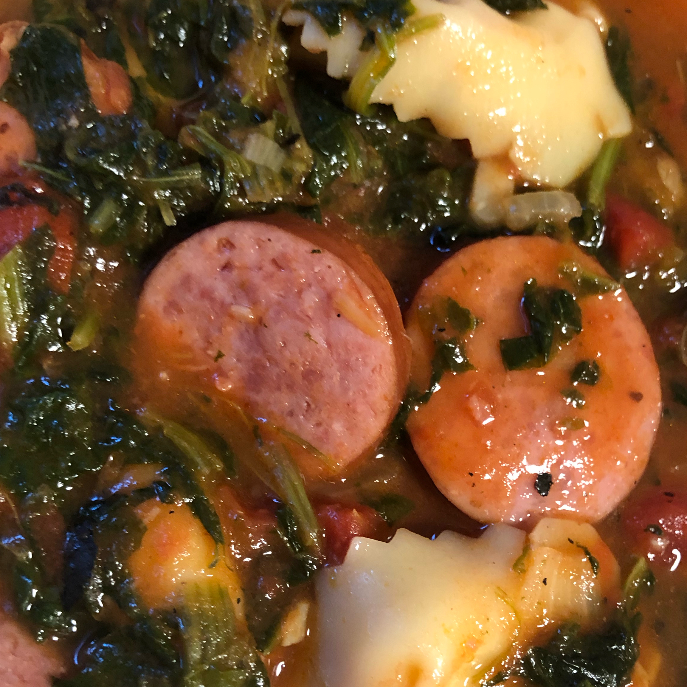 Smoked Sausage and Tortellini Soup