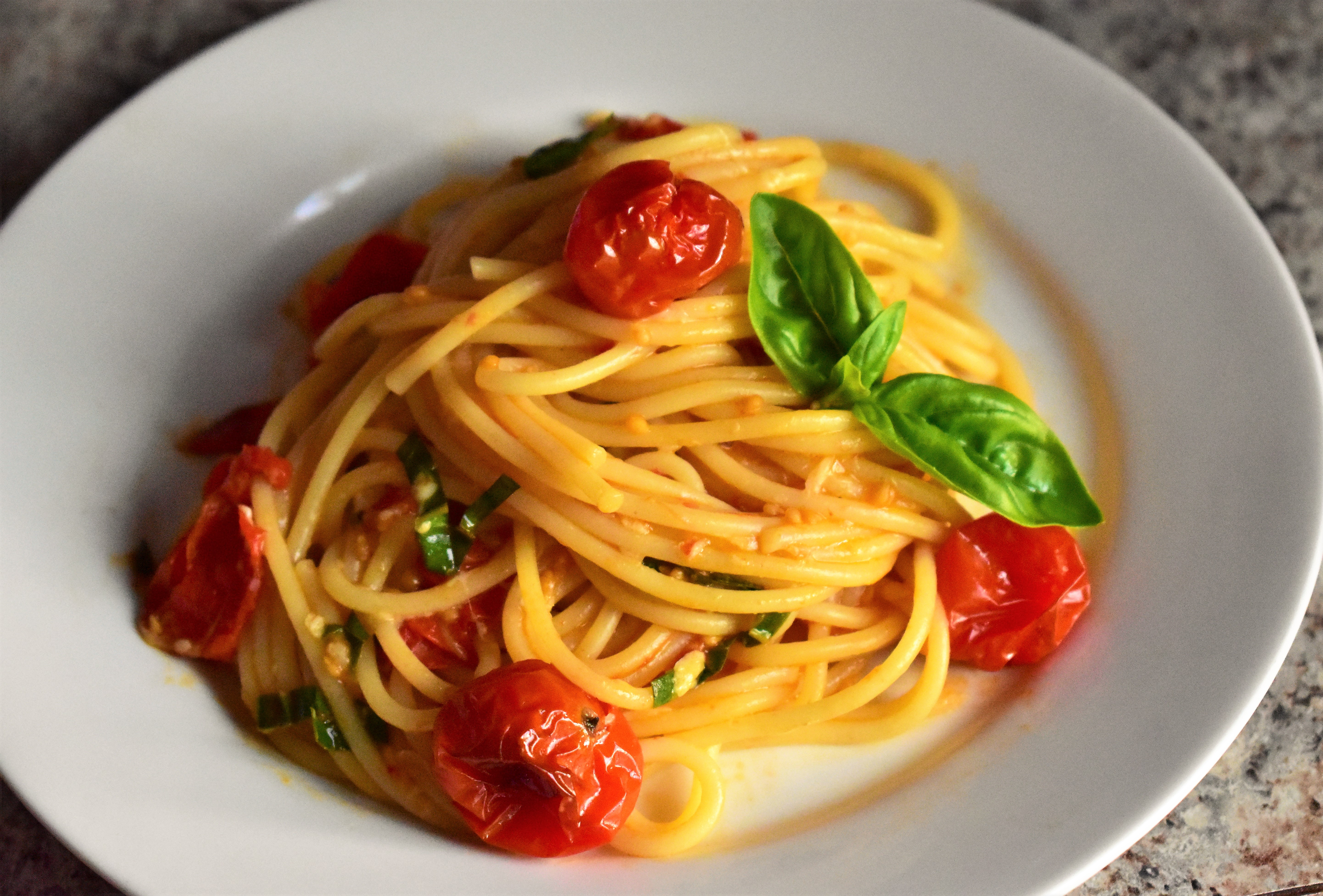Roasted Cherry Tomato Sauce with Spaghetti