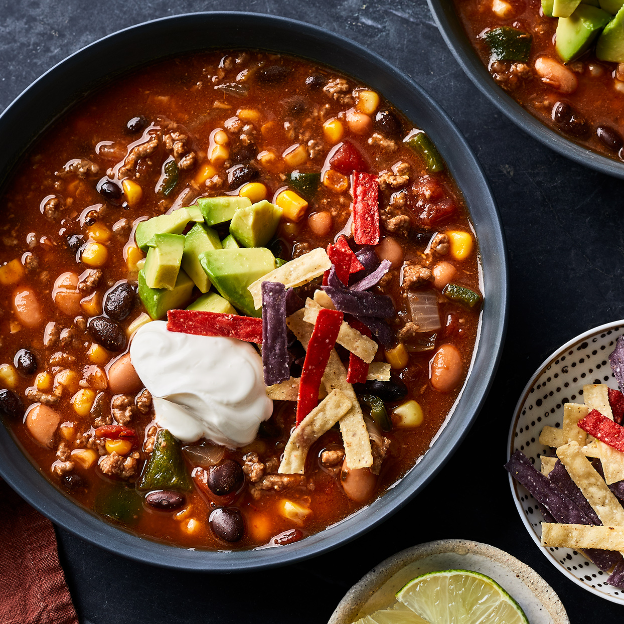 This taco soup is filled with quintessential taco ingredients and flavors--from two types of hearty beans, to corn and ground beef--but it's the toppings that really make this soup stand out. Better yet, this healthy soup is easy to make and leftovers freeze beautifully for later. Source: EatingWell.com, September 2019
