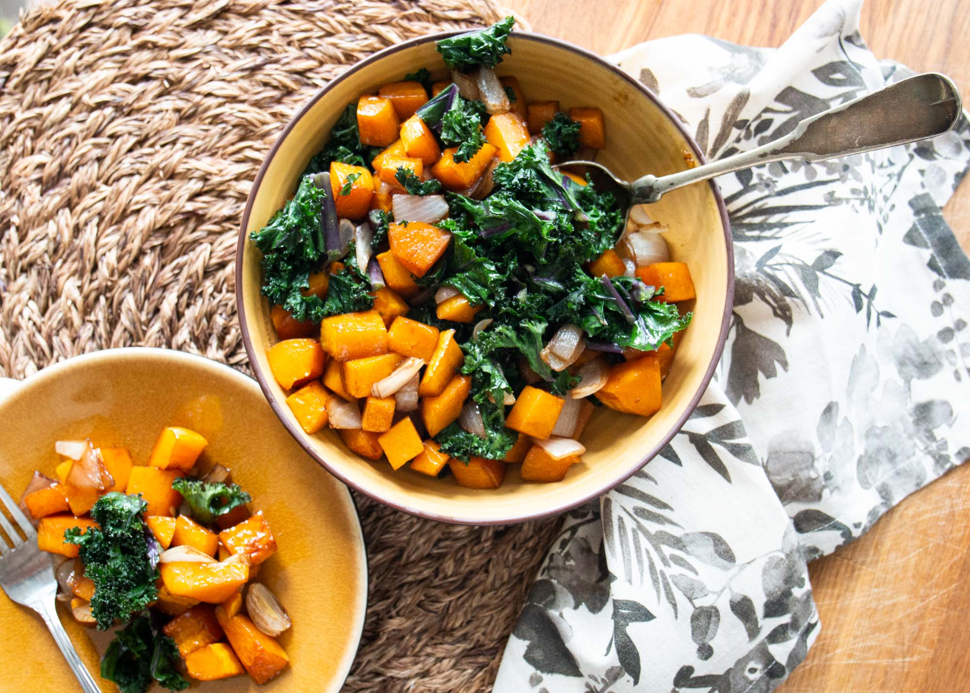 Balsamic Butternut Squash with Kale