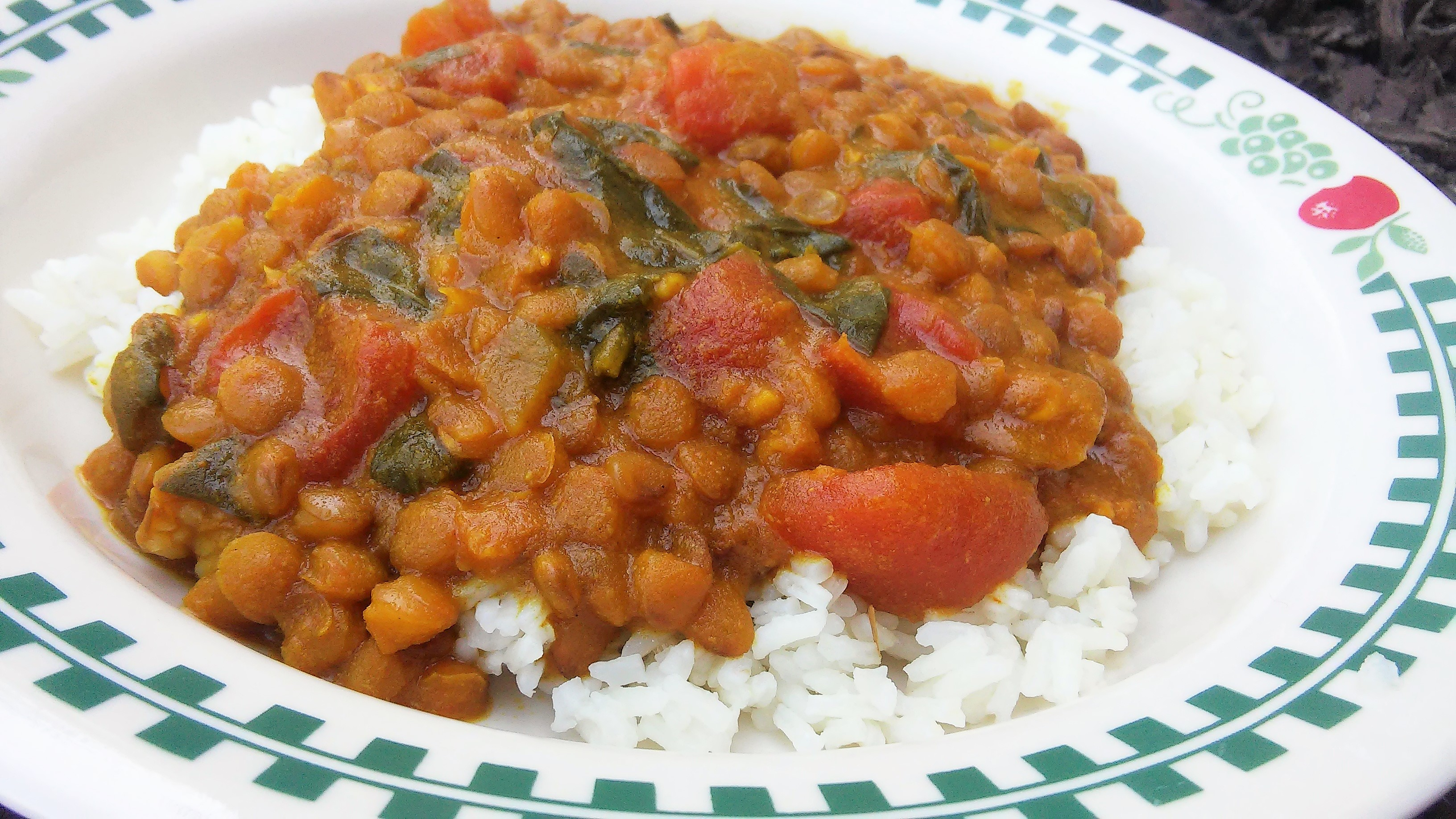 """This curry combines tomatoes, coconut milk, red lentils, spinach, onion, tomato paste, curry powder, garlic, and cayenne pepper in a multi-functional pressure cooker. It's ready in about 25 minutes. """"This red lentil curry in a hurry is made in a multi-functional pressure cooker and is perfect for a quick and hearty vegetarian meal,"""" says Garrett Griffin."""
