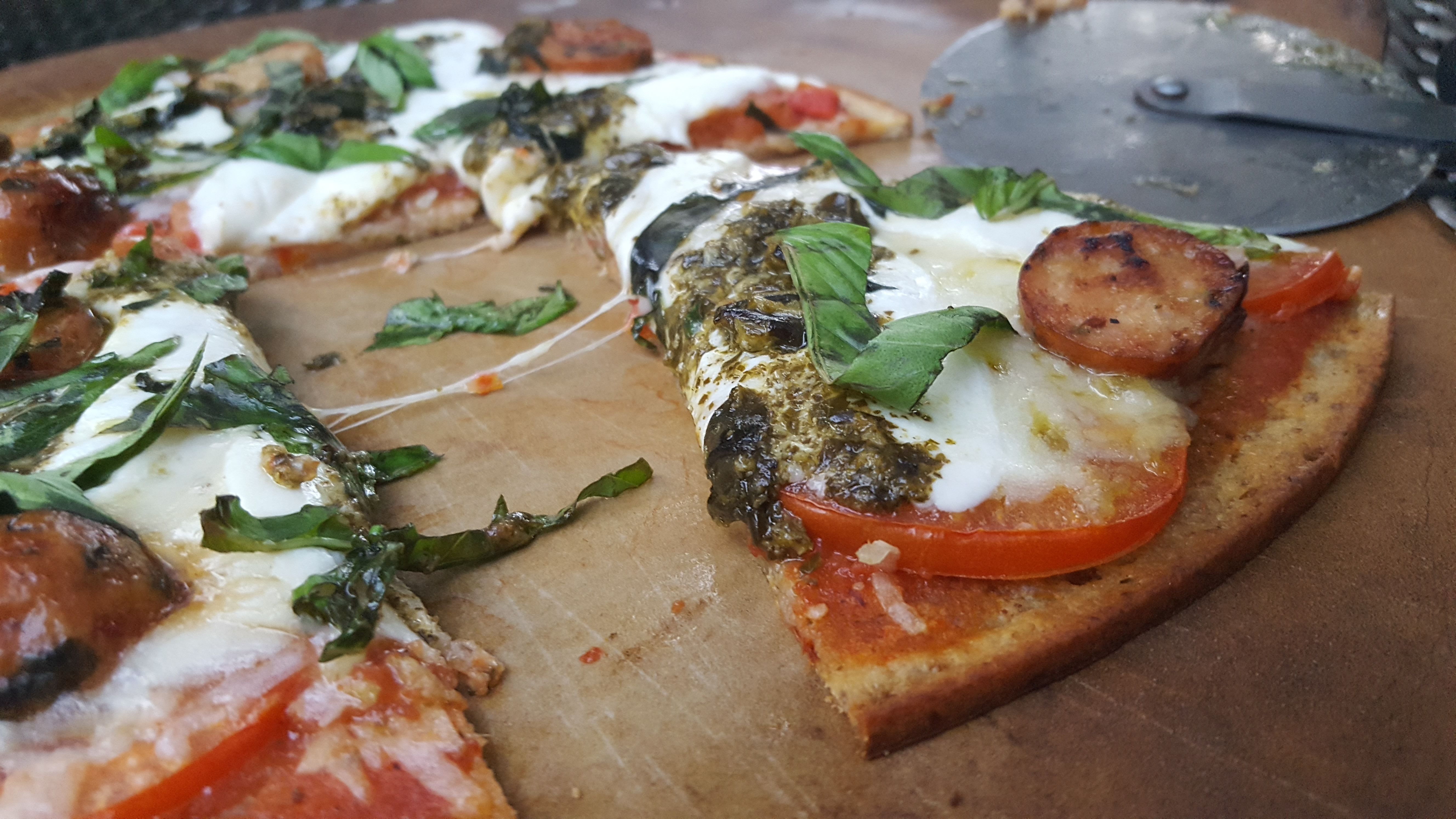 Margherita Pizza with Sausage and Pesto