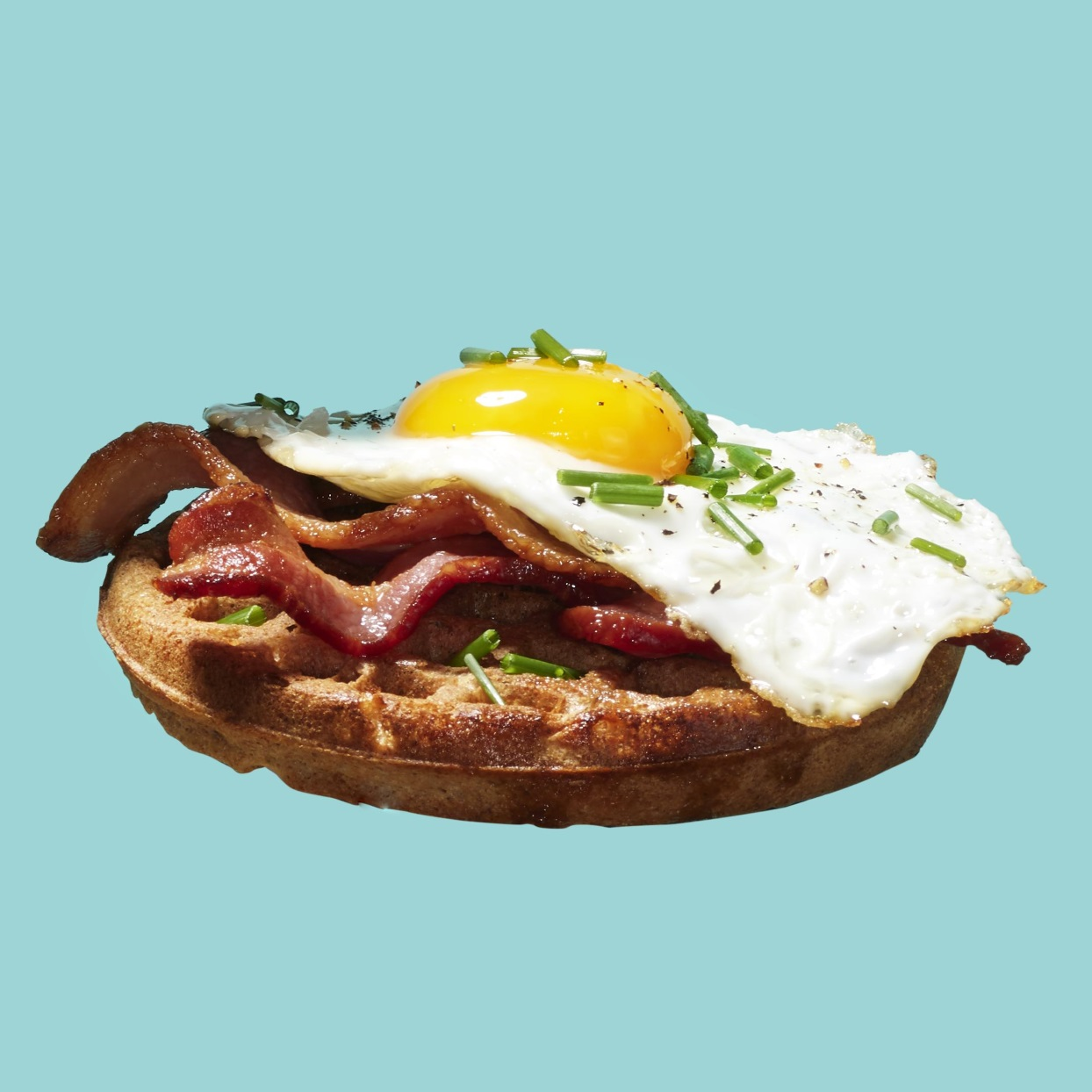 Waffle with Bacon, Fried Egg & Chives