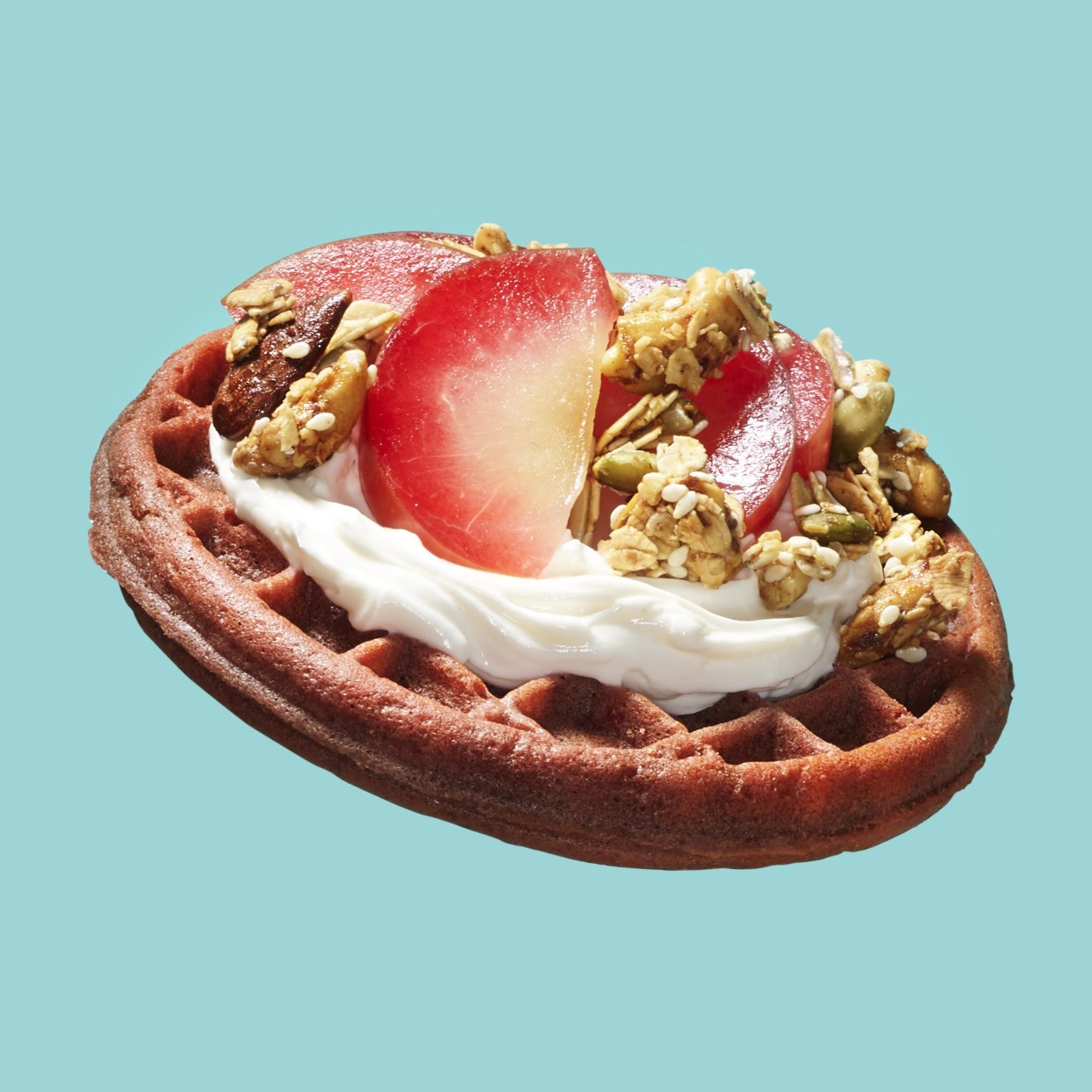 Top a toasted frozen waffle with cream cheese, plums and granola for a healthy breakfast in a pinch. Loaded with protein, fiber and whole grains, this recipe will keep you full and satisfied all morning. Source: EatingWell Magazine, September 2019