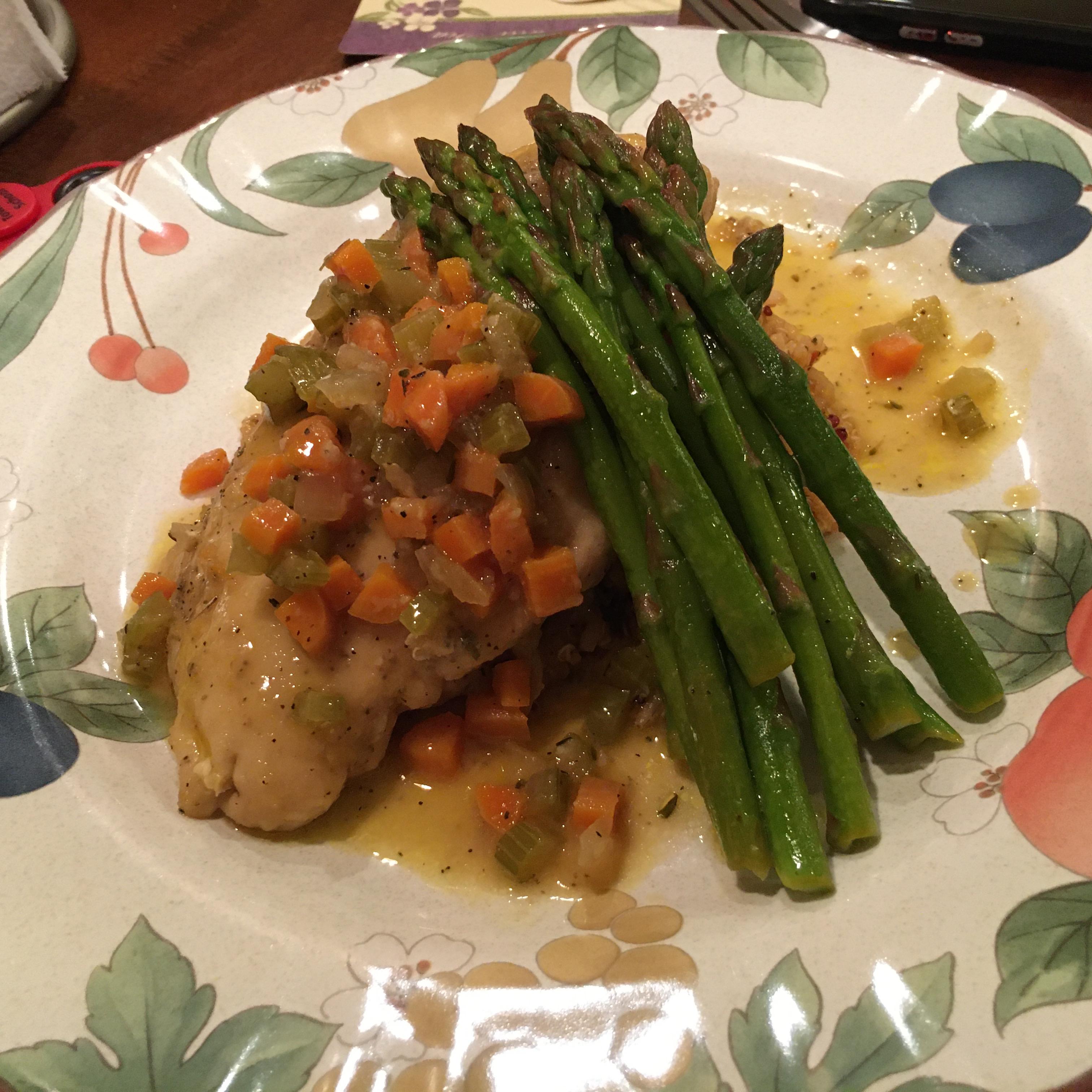 Braised Chicken Breasts in Tasty Mirepoix Ragout Bob Menz