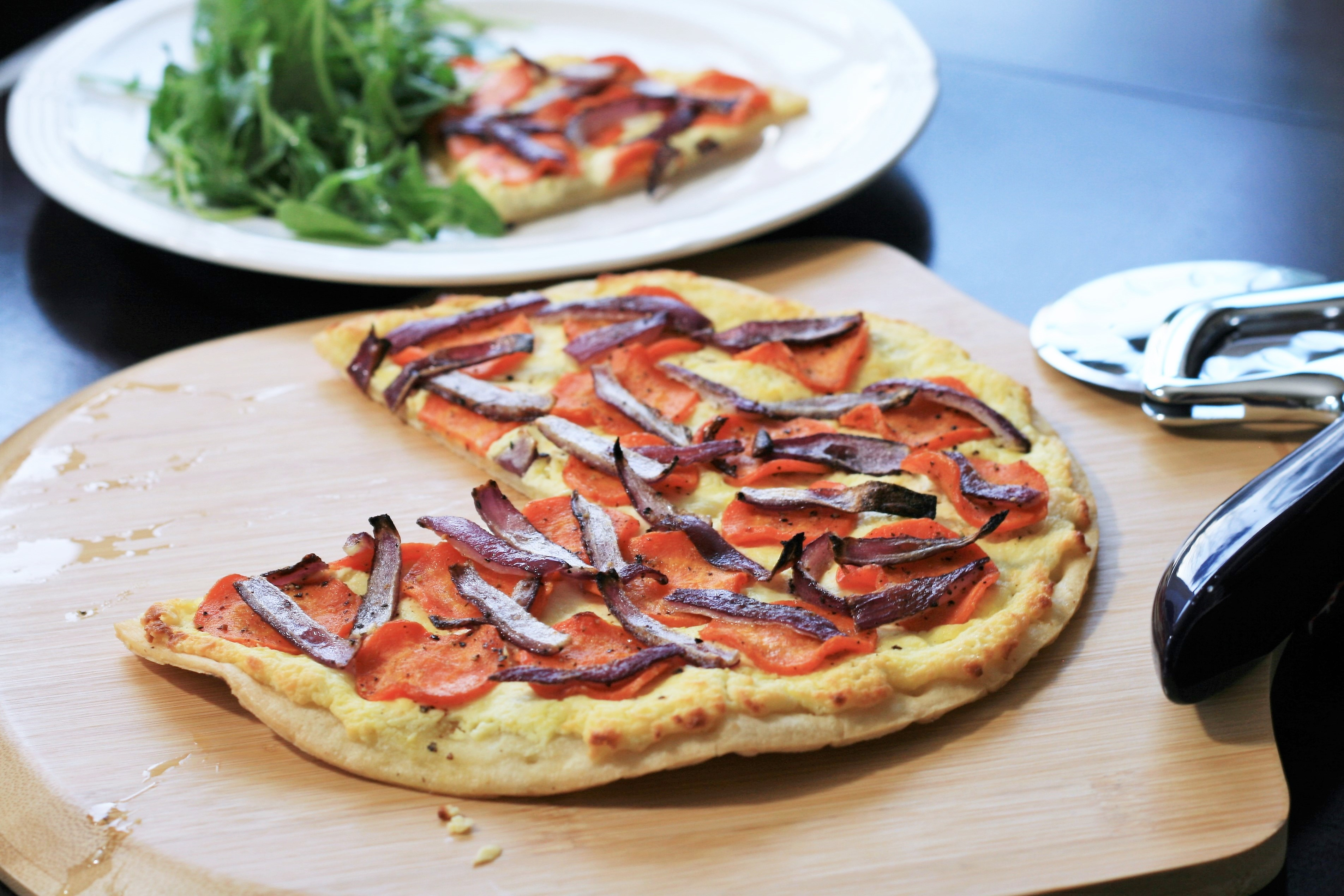 Honey-Roasted Carrot and Goat Cheese Pizza France C
