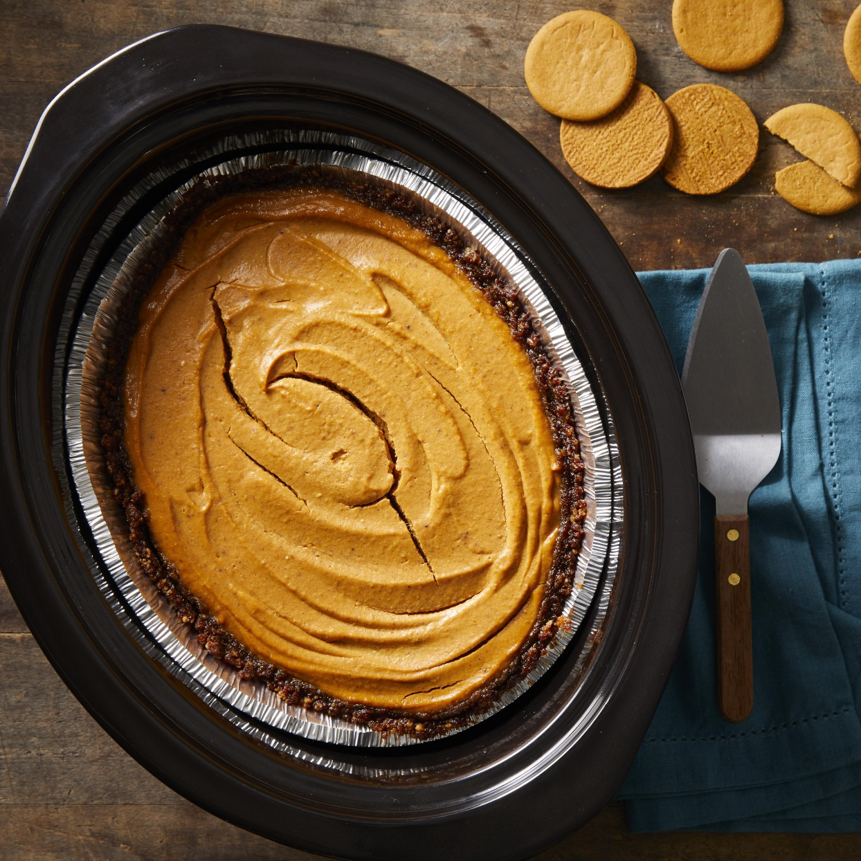 This easy slow-cooker pumpkin cheesecake with a gingersnap-and-walnut crust is full of all your favorite fall flavors. Cooking dessert in the slow cooker frees up oven space, making this healthy dessert perfect for entertaining. It might just bump your regular old pumpkin pie off the Thanksgiving menu. To make this recipe gluten-free, swap out the regular gingersnap cookies for gluten-free gingersnaps.