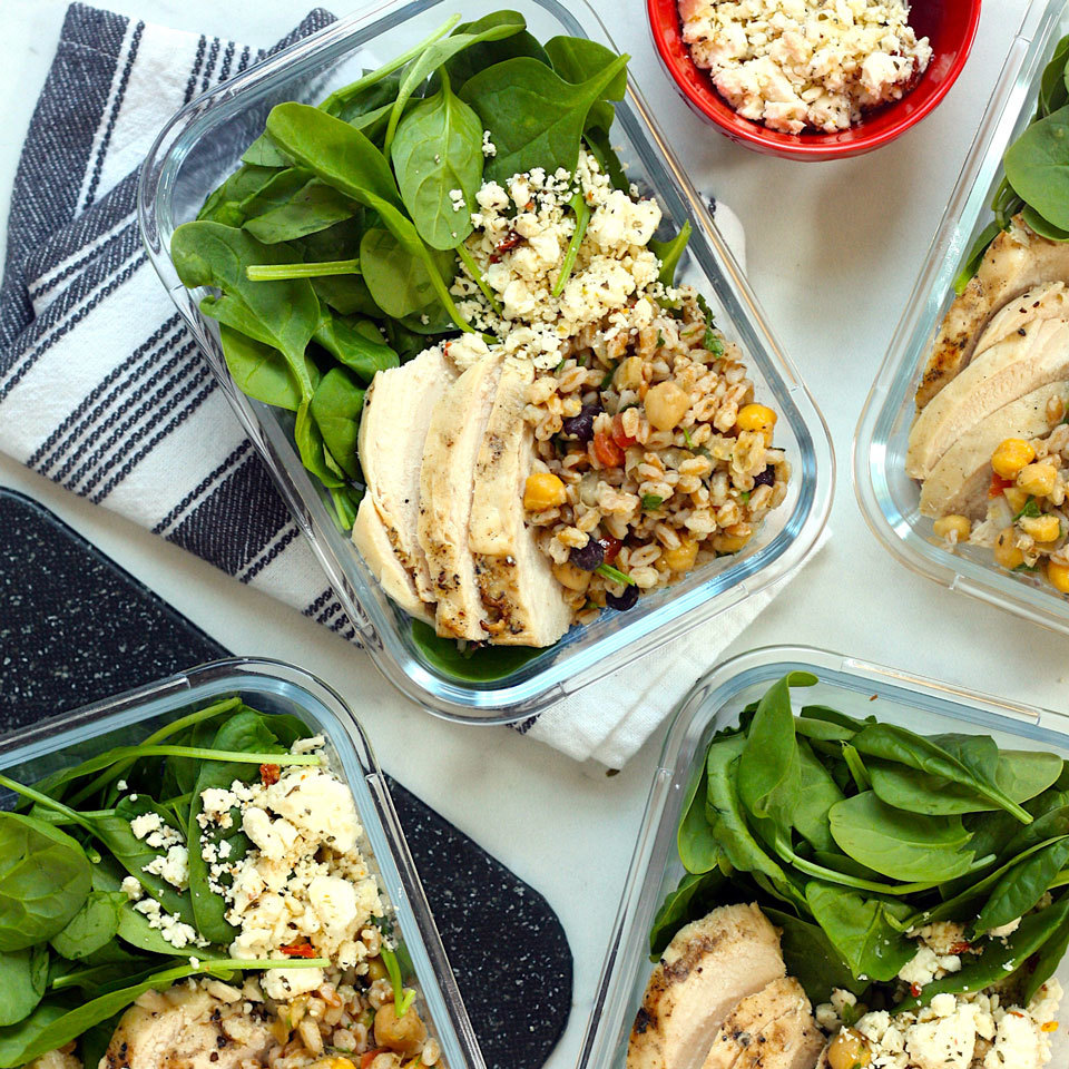 We're pairing two shortcut products you can likely find at your local specialty grocery store--Middle Eastern bean salad and microwaveable farro--to add protein, fiber and satisfying texture to these high-protein lunch bowls. To cut down on prep time, we're also using preseasoned grilled chicken breasts from the refrigerated section, bottled balsamic vinaigrette and a few other ready-to-use ingredients to make these quick and easy meal-prep lunches. Source: EatingWell.com, September 2019