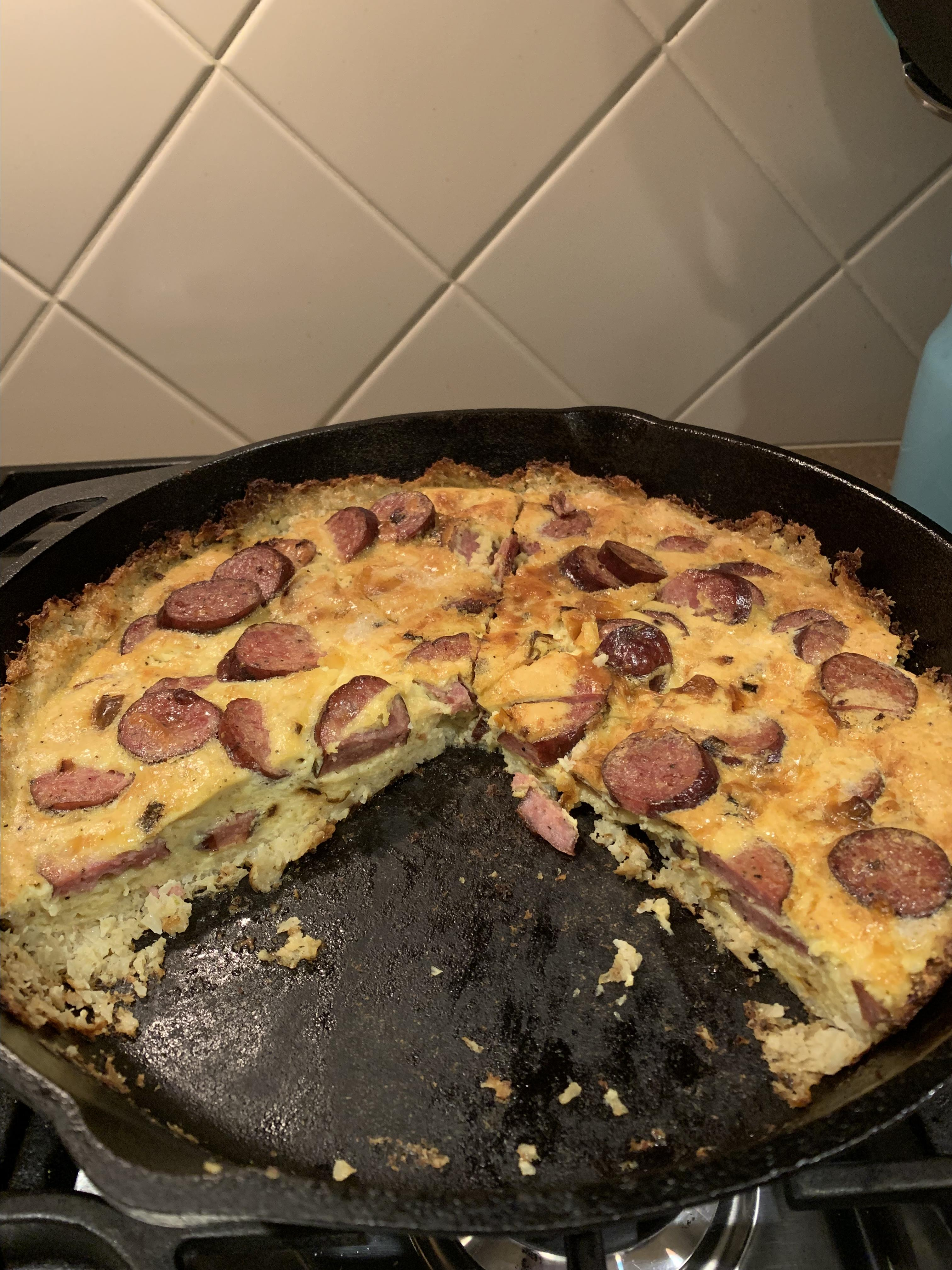 Cauliflower-Crusted Quiche with Hillshire Farm® Smoked Sausage