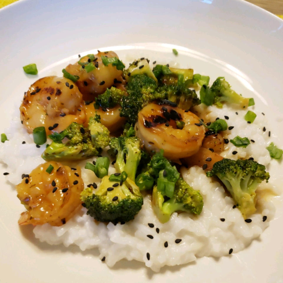 Grilled Teriyaki Prawns with Asparagus and Coconut Rice