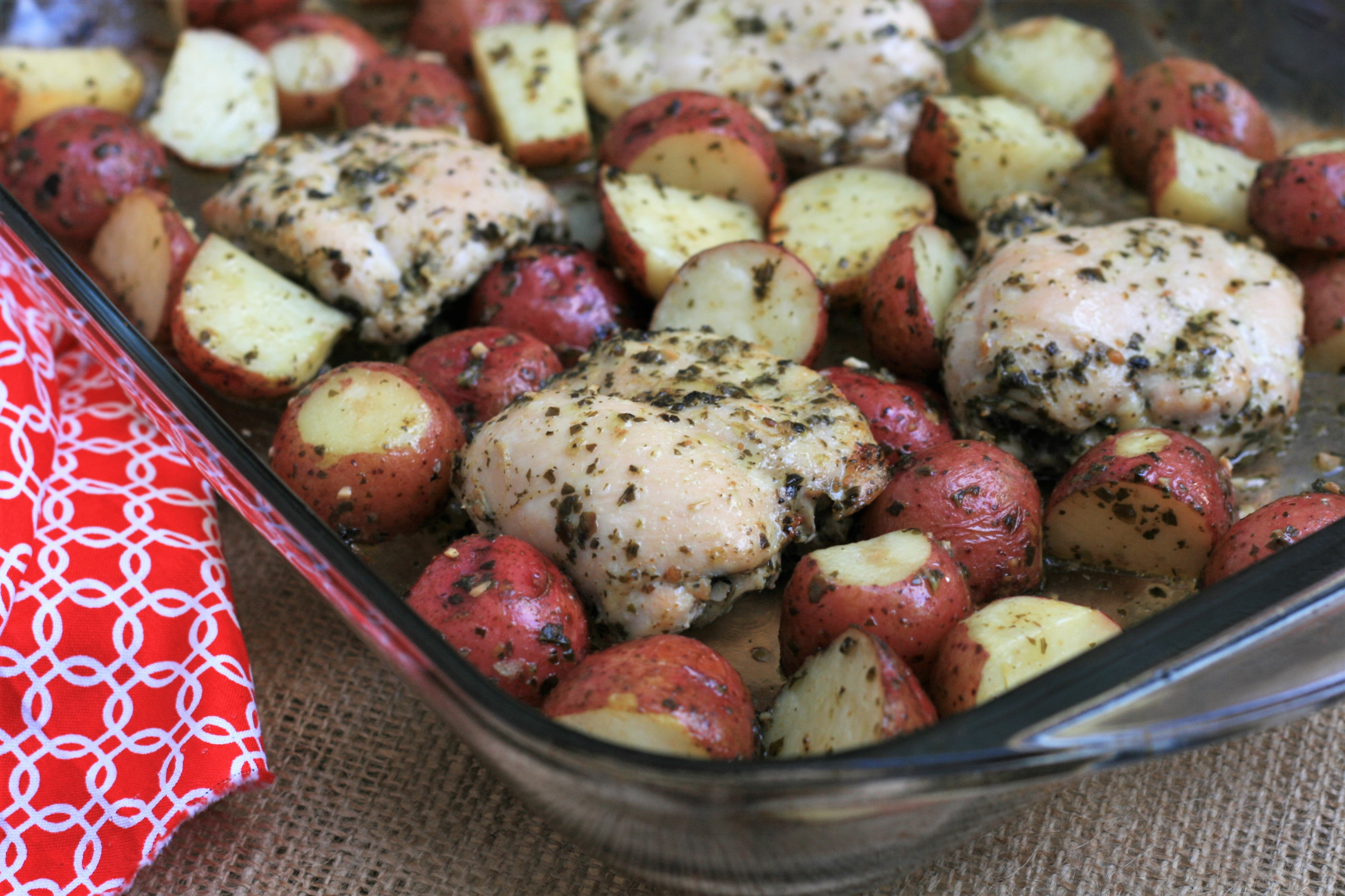 Baked Pesto Chicken Thighs and Potatoes