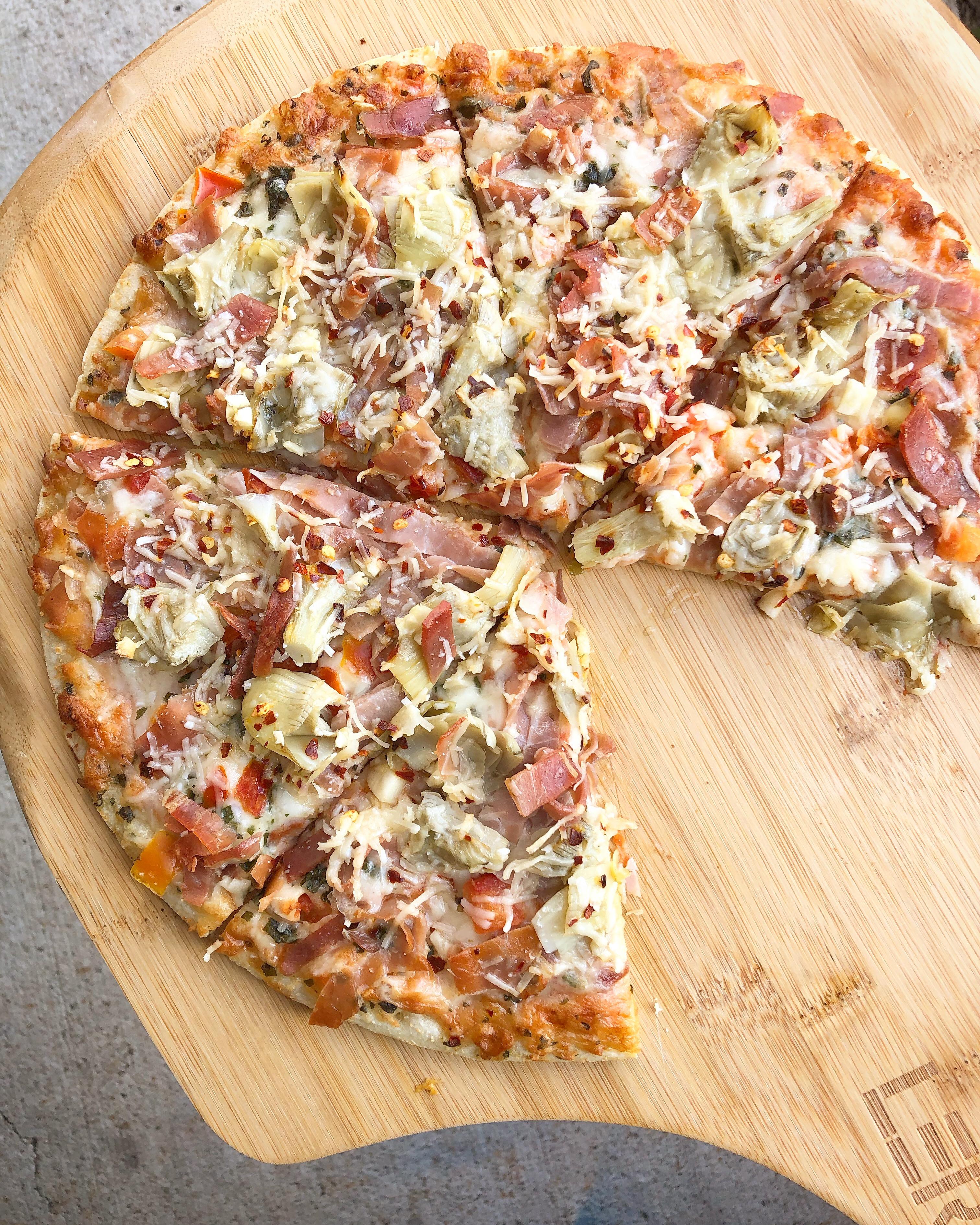 Prosciutto-Artichoke Pizza LazyFoodieGirl