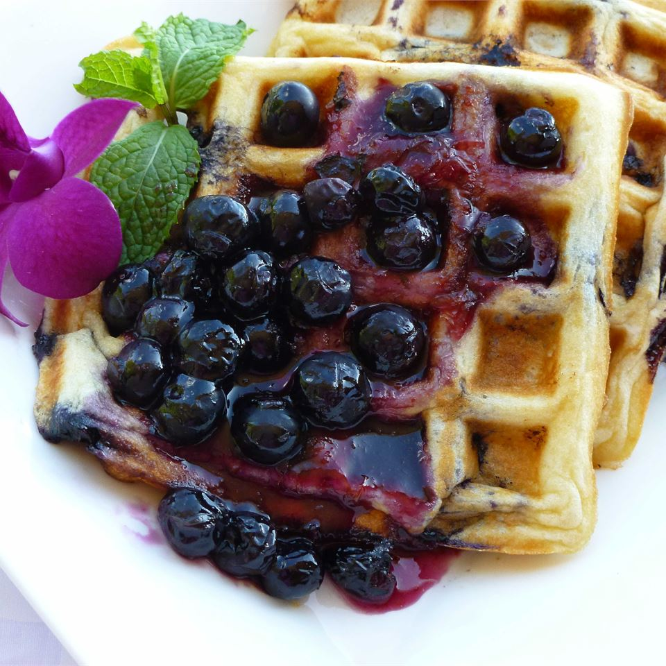 Blueberry Waffles with Fast Blueberry Sauce OkinawanPrincess