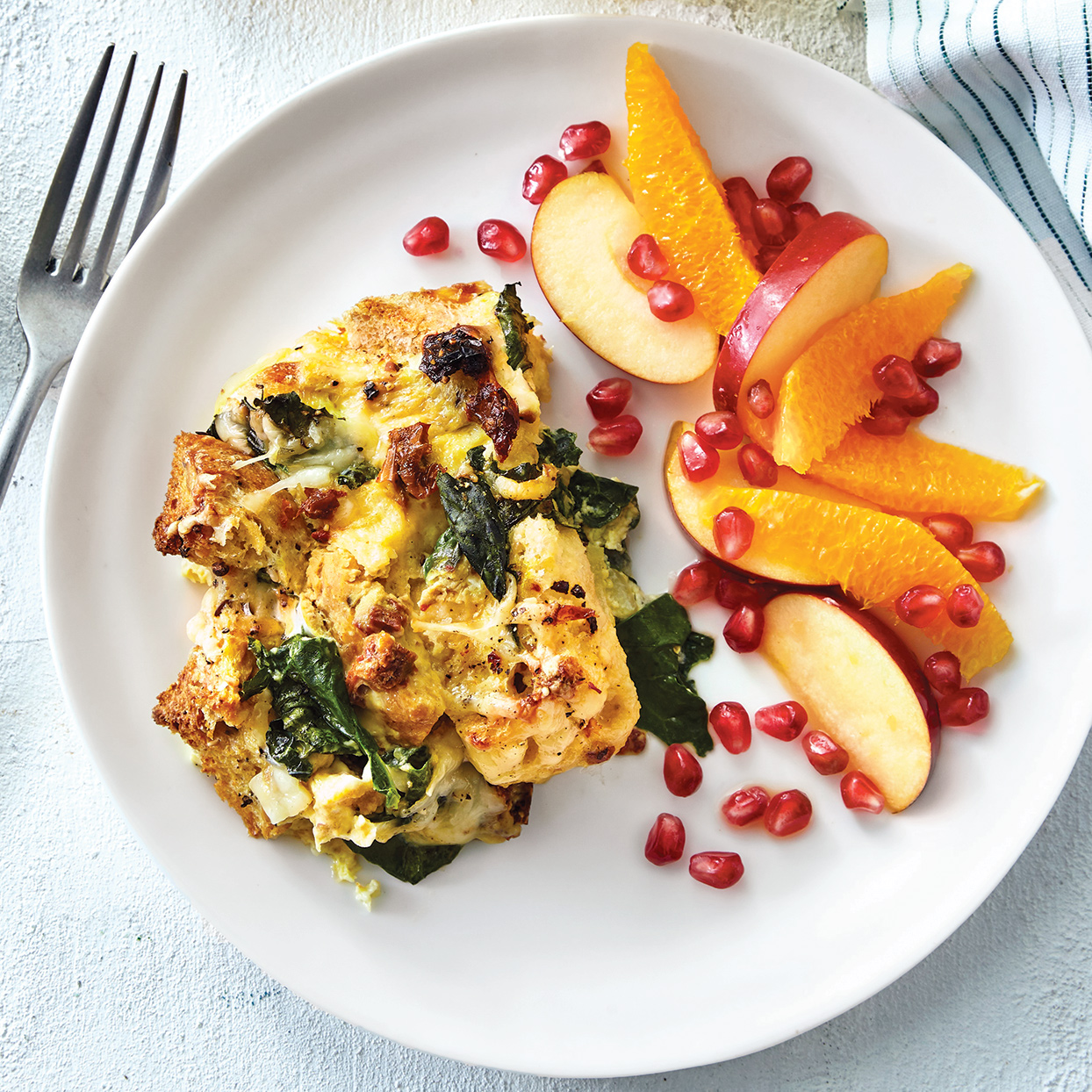 For a lazy-morning breakfast or when hosting a brunch, make this easy vegetarian recipe your game plan. Be sure to use crusty, freshly baked bread from the bakery section of your supermarket instead of a premade loaf from the bread aisle. Serve with seasonal fruit and juice to balance the richness of the egg and cheese.