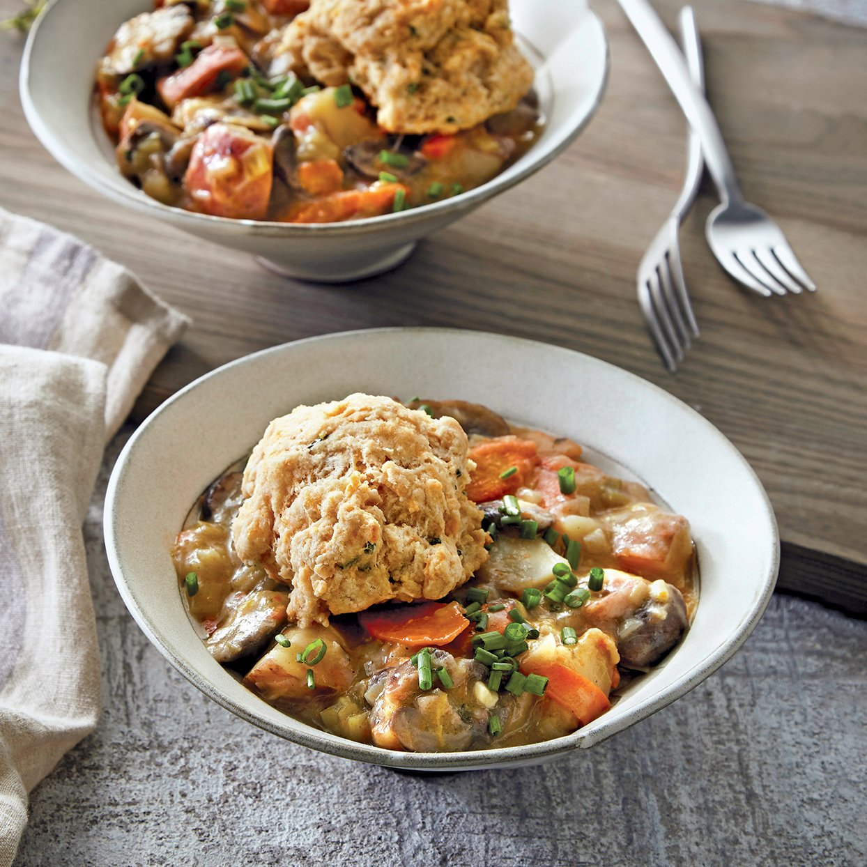 You'll reach for this recipe on early spring days for warmth and satisfaction. Even though this is a vegetarian pot pie, it's still hearty thanks to a whole-wheat crust and a filling made with potatoes, mushrooms, leeks and carrots.