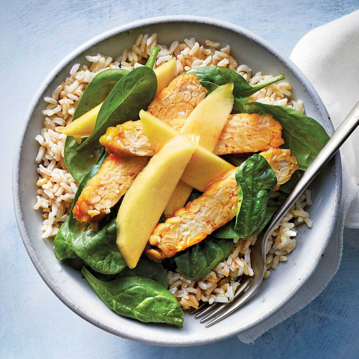 Slow-Cooker Asian Tempeh with Spinach & Mango