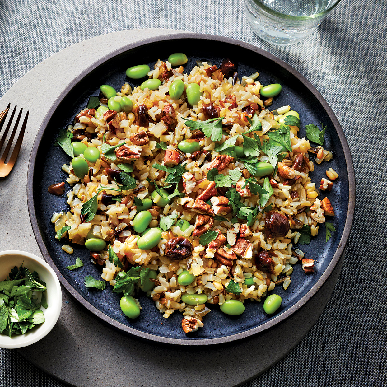 With wild and brown rice, edamame, dried cherries and pecans, this dish boasts varied textures as well as an abundance of nutrients. Wild rice is rich in fiber and protein while brown rice is high in manganese, which helps the body digest fats. Cherries are packed with antioxidants, while pecans are loaded with healthy unsaturated fat.