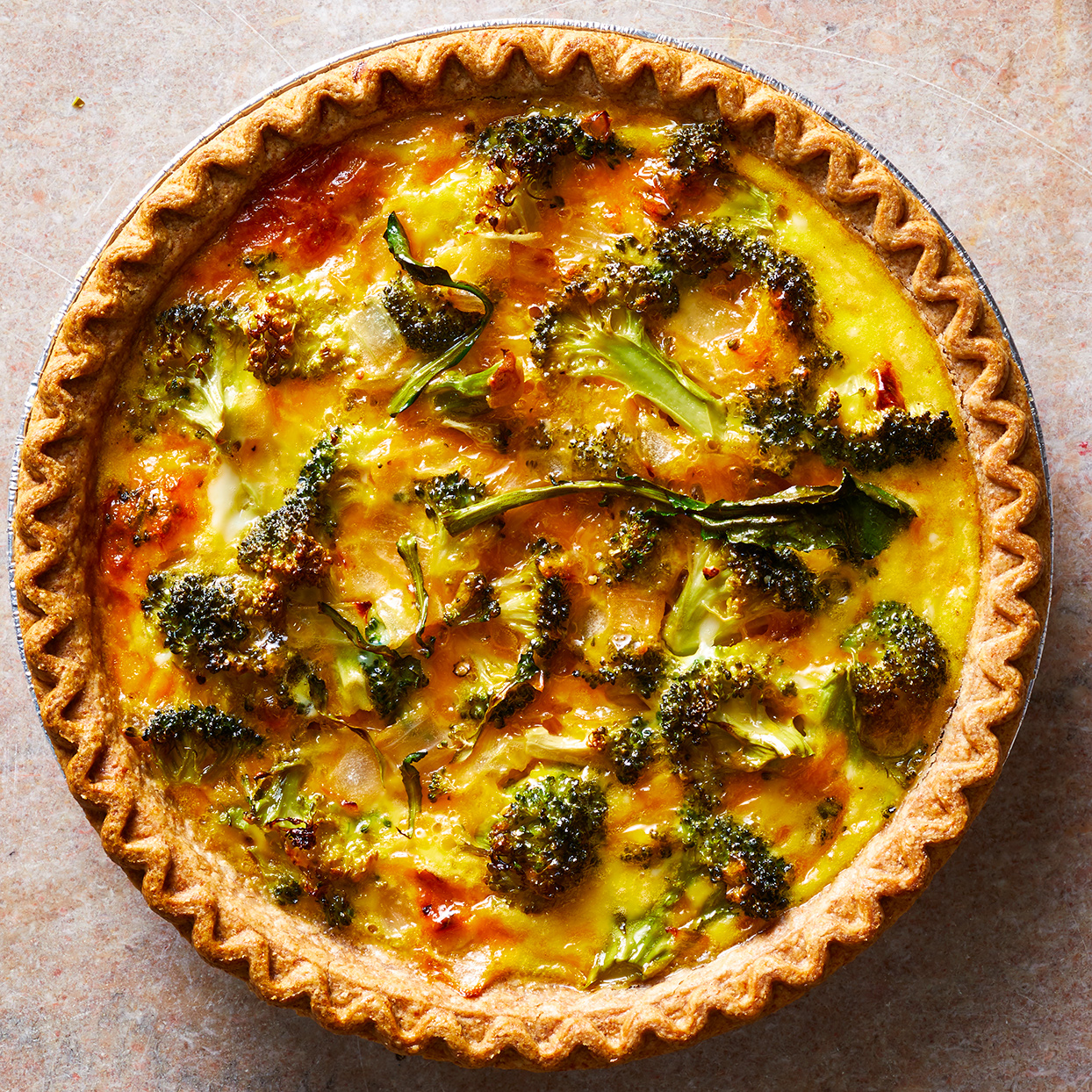This easy, cheesy broccoli quiche gets its creamy texture from evaporated milk. It's also a great recipe to make ahead: simply reheat before serving or cut into slices and reheat each morning for breakfast. Using pre-cut microwaveable broccoli cuts down on prep time, but if you have broccoli crowns sitting around, go ahead and use those up. Just be sure to cook the broccoli until it's just barely tender or the final dish will have overcooked, soggy broccoli. Source: EatingWell.com, October 2019