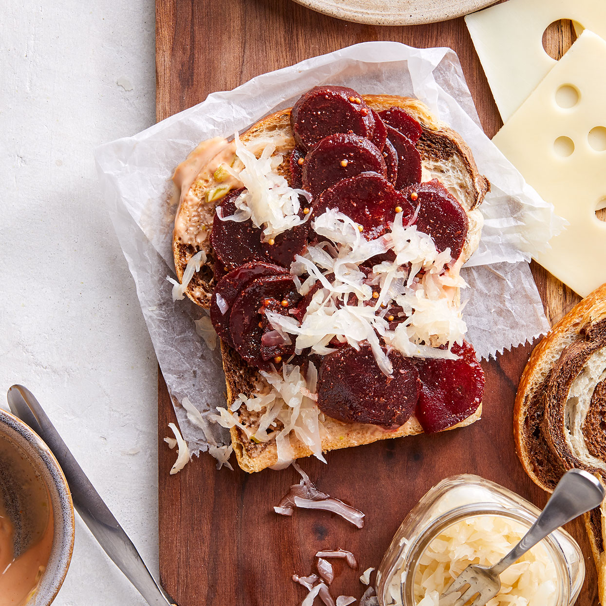 Tossing beets with coriander, mustard seeds, cinnamon and allspice gives them savory corned-beef flavor. With this vegetarian Reuben sandwich, you won't miss the meat. Source: EatingWell Magazine, November 2019