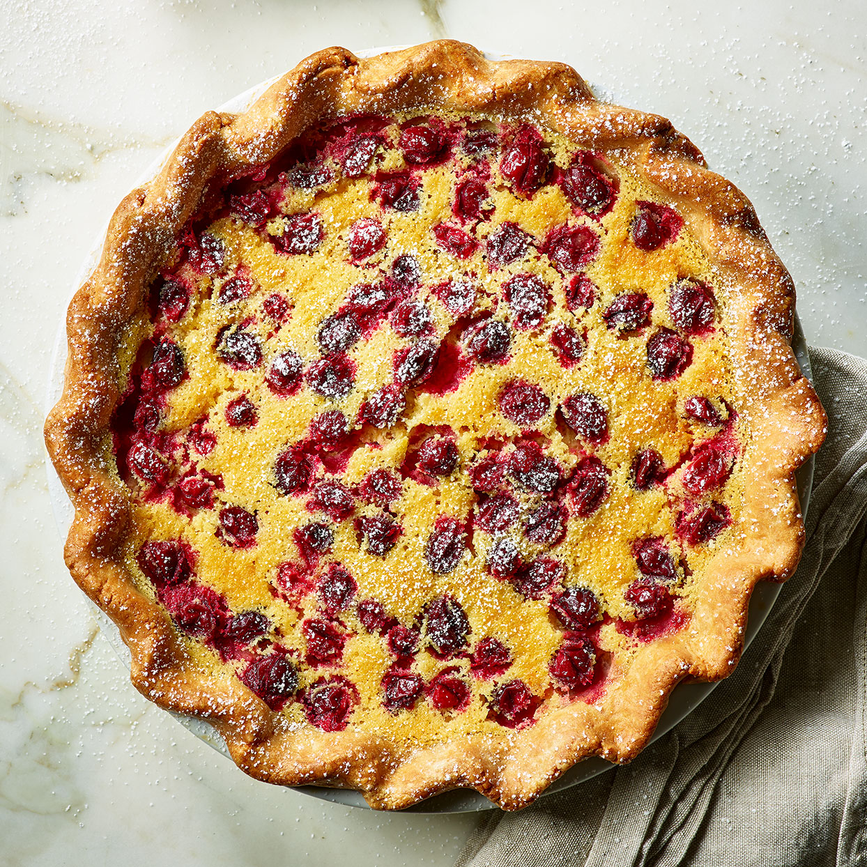 This custard filling is what takes this buttermilk pie recipe to the next level. It tastes like a panna cotta with a bit of attitude from the tang of the buttermilk and a generous sprinkling of cranberries on top. Source: EatingWell Magazine, November 2019