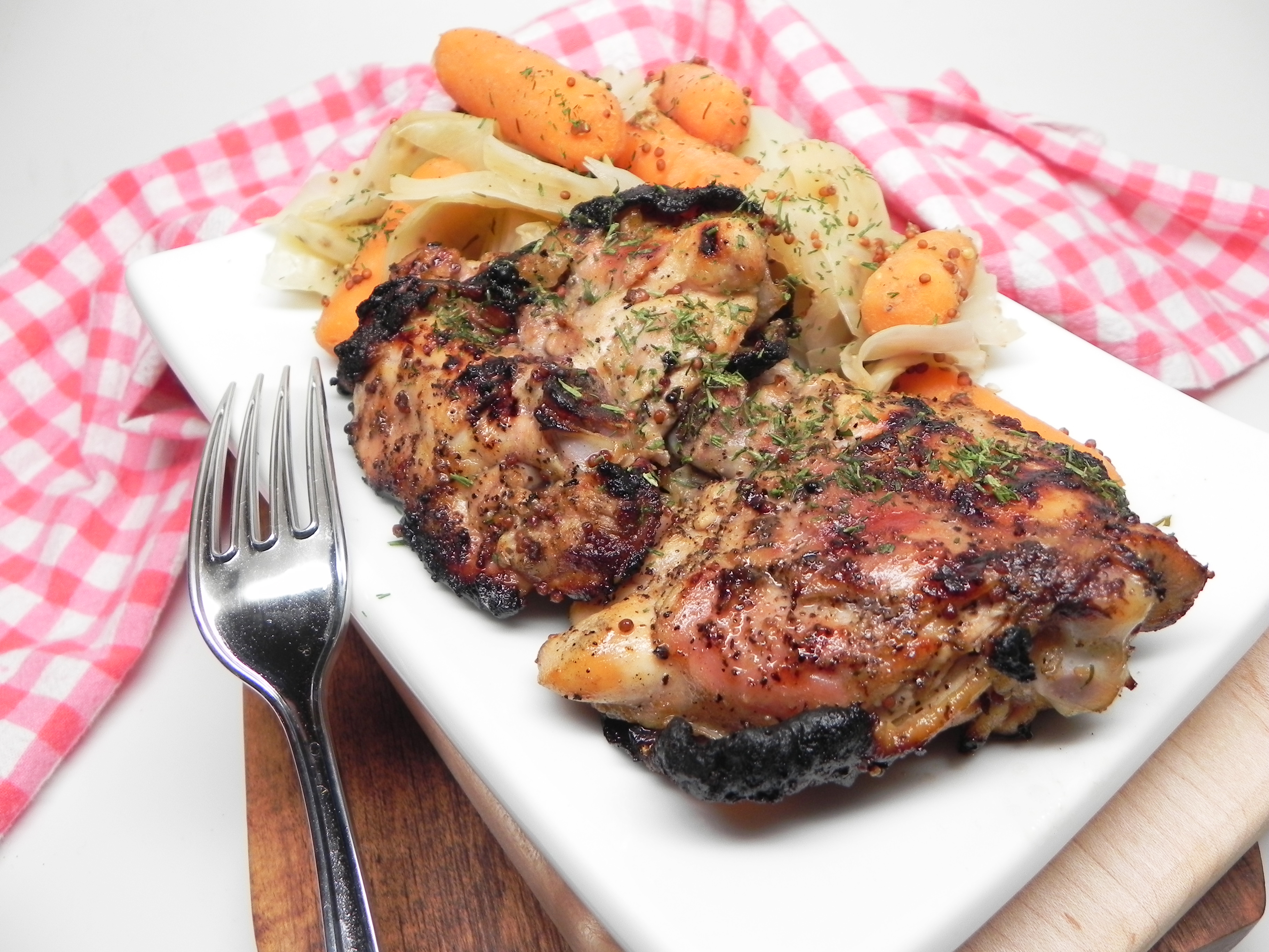 Mustard and Apple Cider Grilled Chicken Thighs