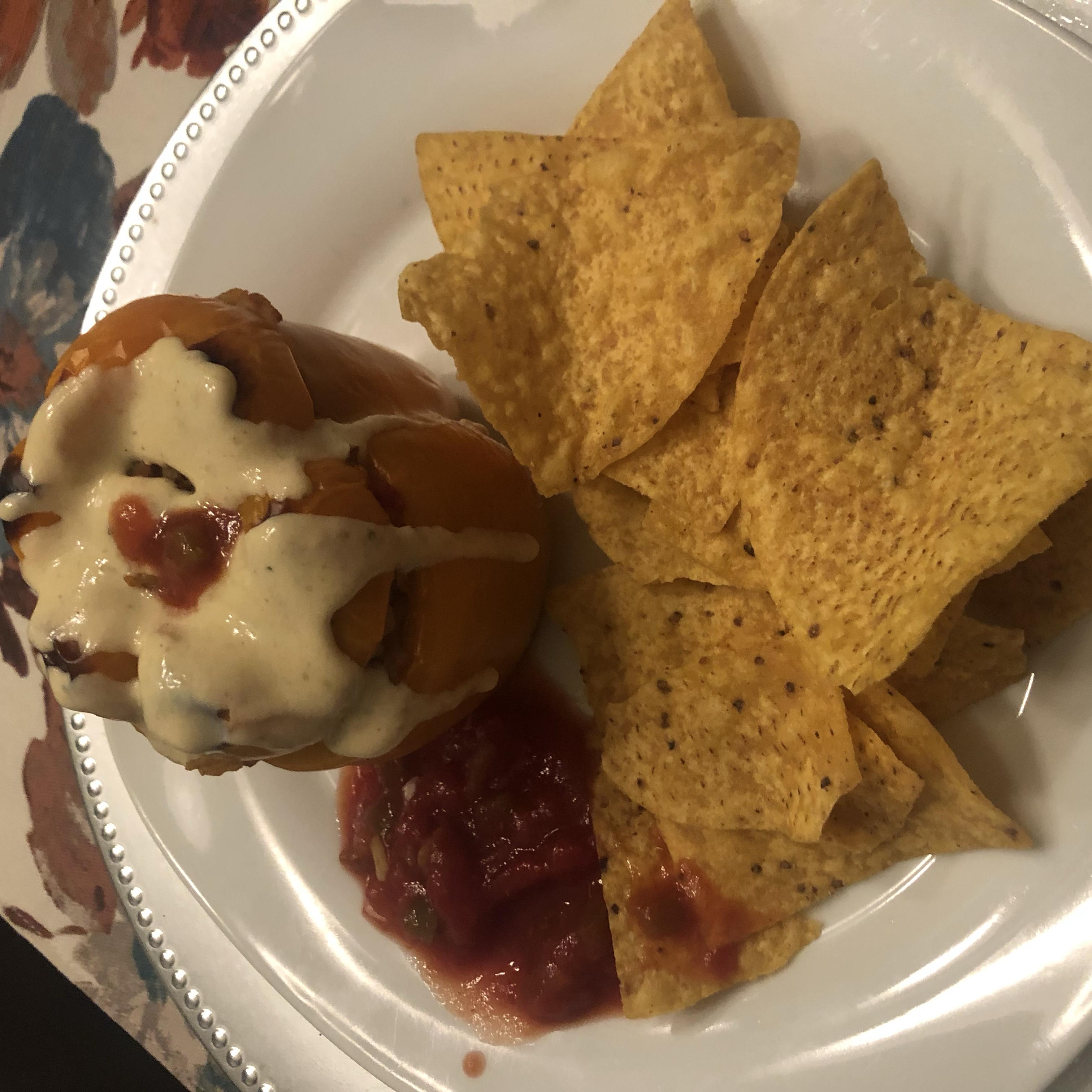 Chorizo-Stuffed Peppers with Green Chile Ranchero Sauce