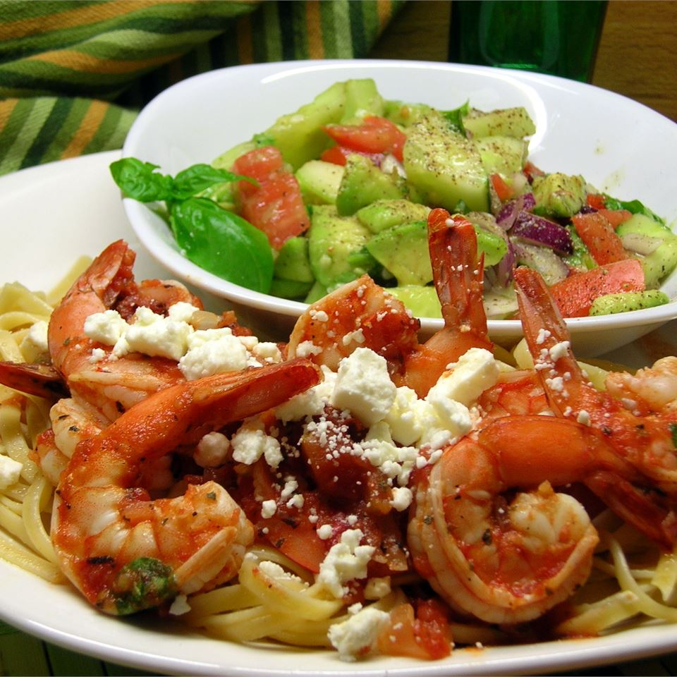 Fire Roasted Tomato and Feta Pasta with Shrimp
