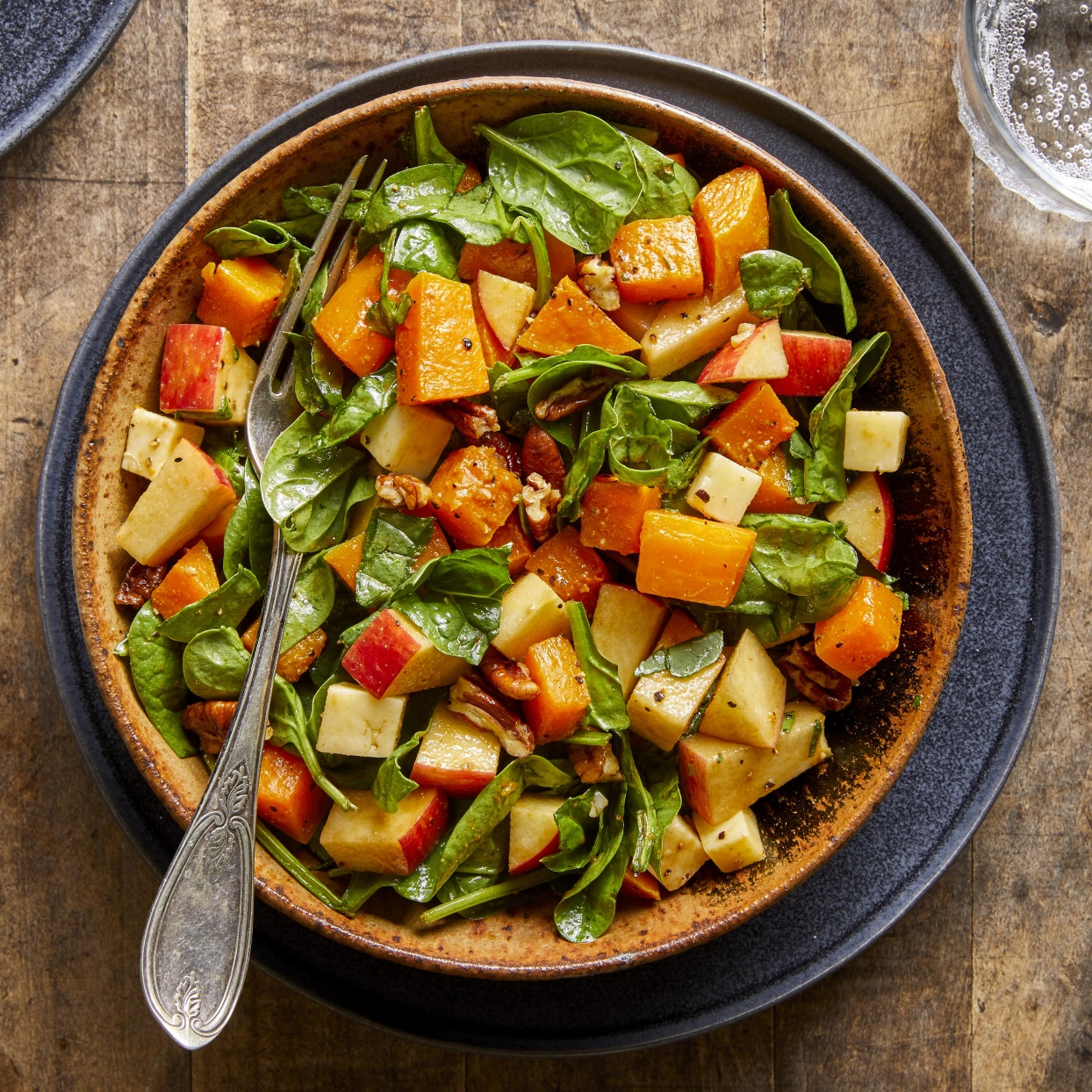 Fall Chopped Salad with Spinach, Butternut Squash, Apples & Cheddar Trusted Brands