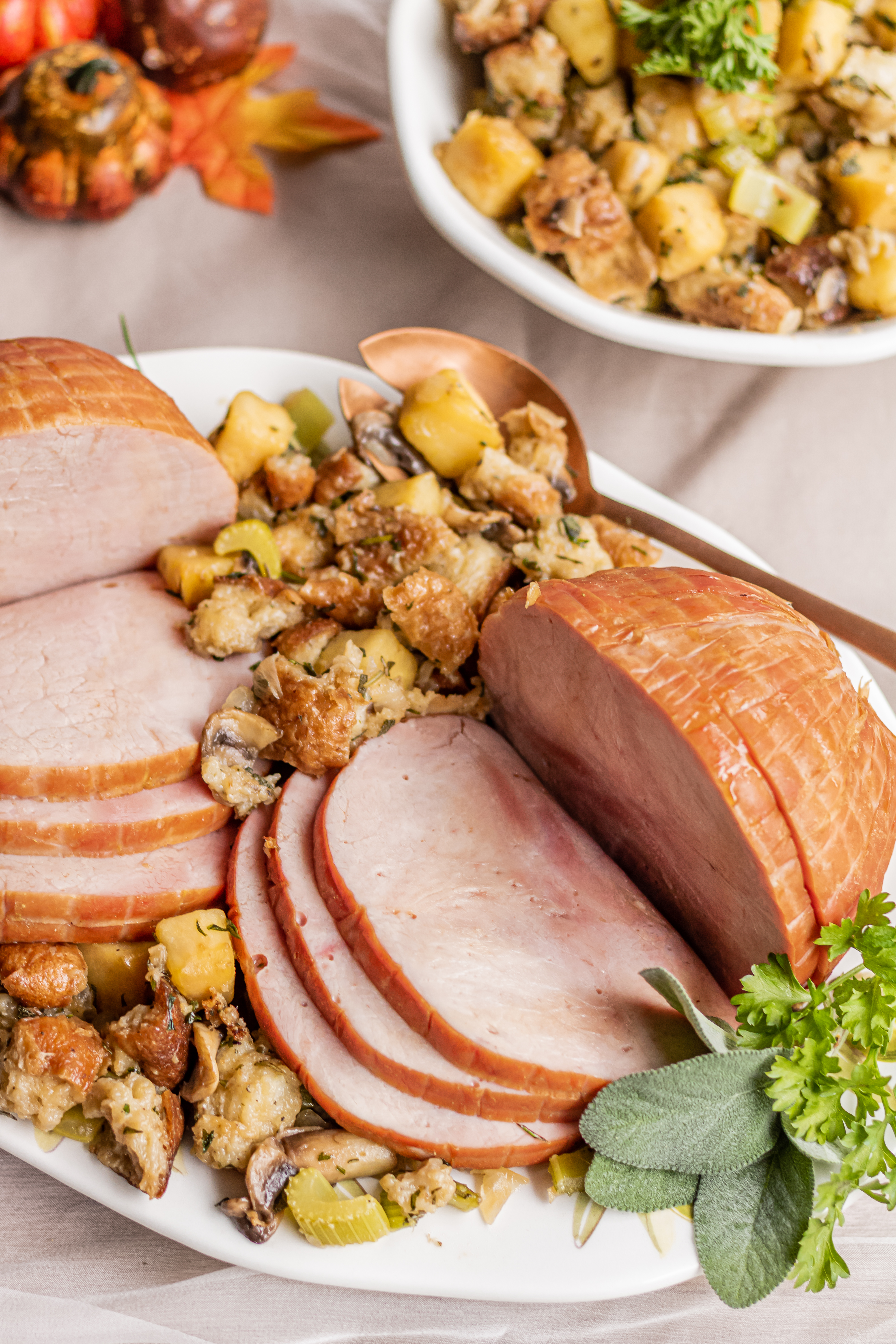 Honey-Maple Ham with Herb-Apple Dressing Grimm's Fine Foods