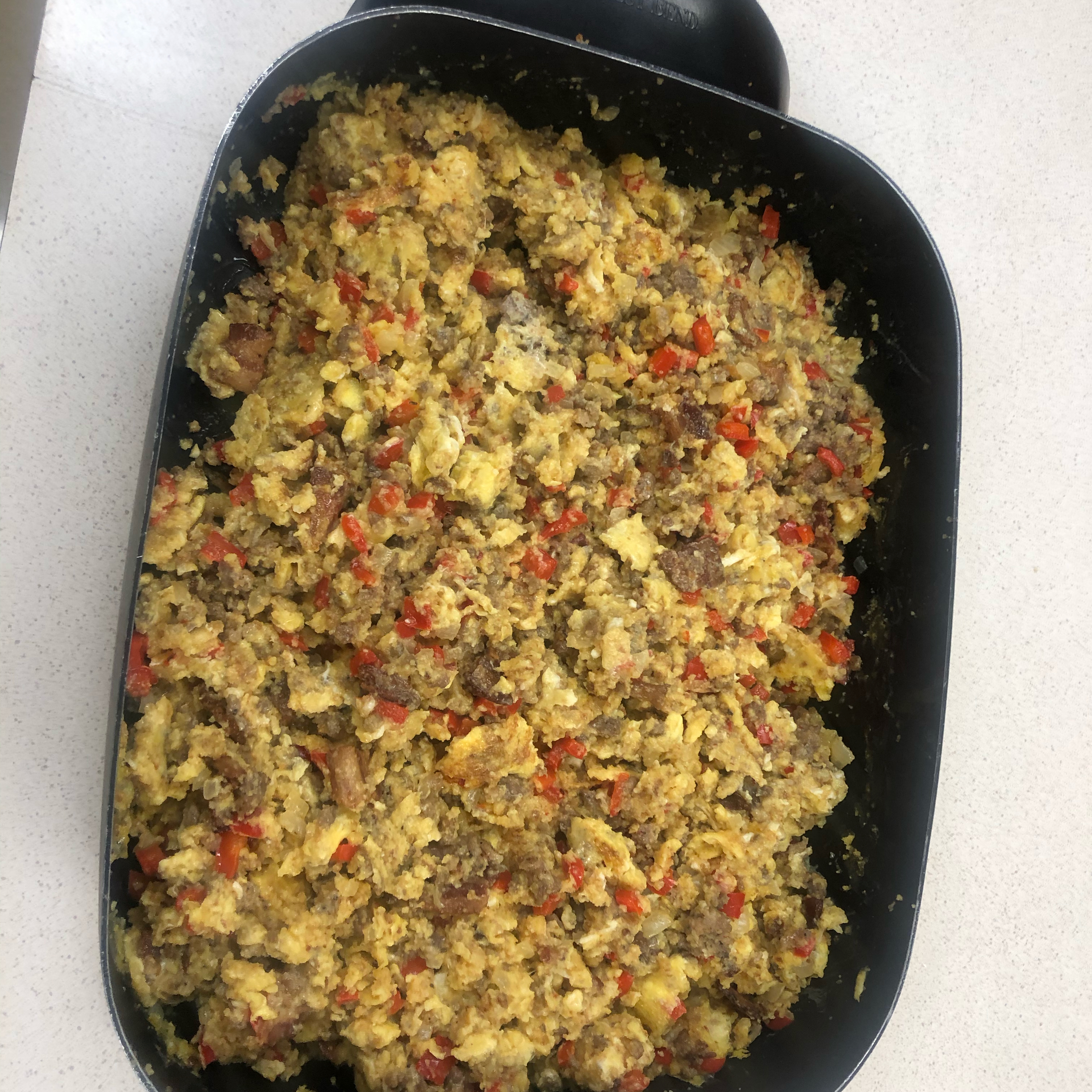Scrambled Eggs with Sausage and Cornbread