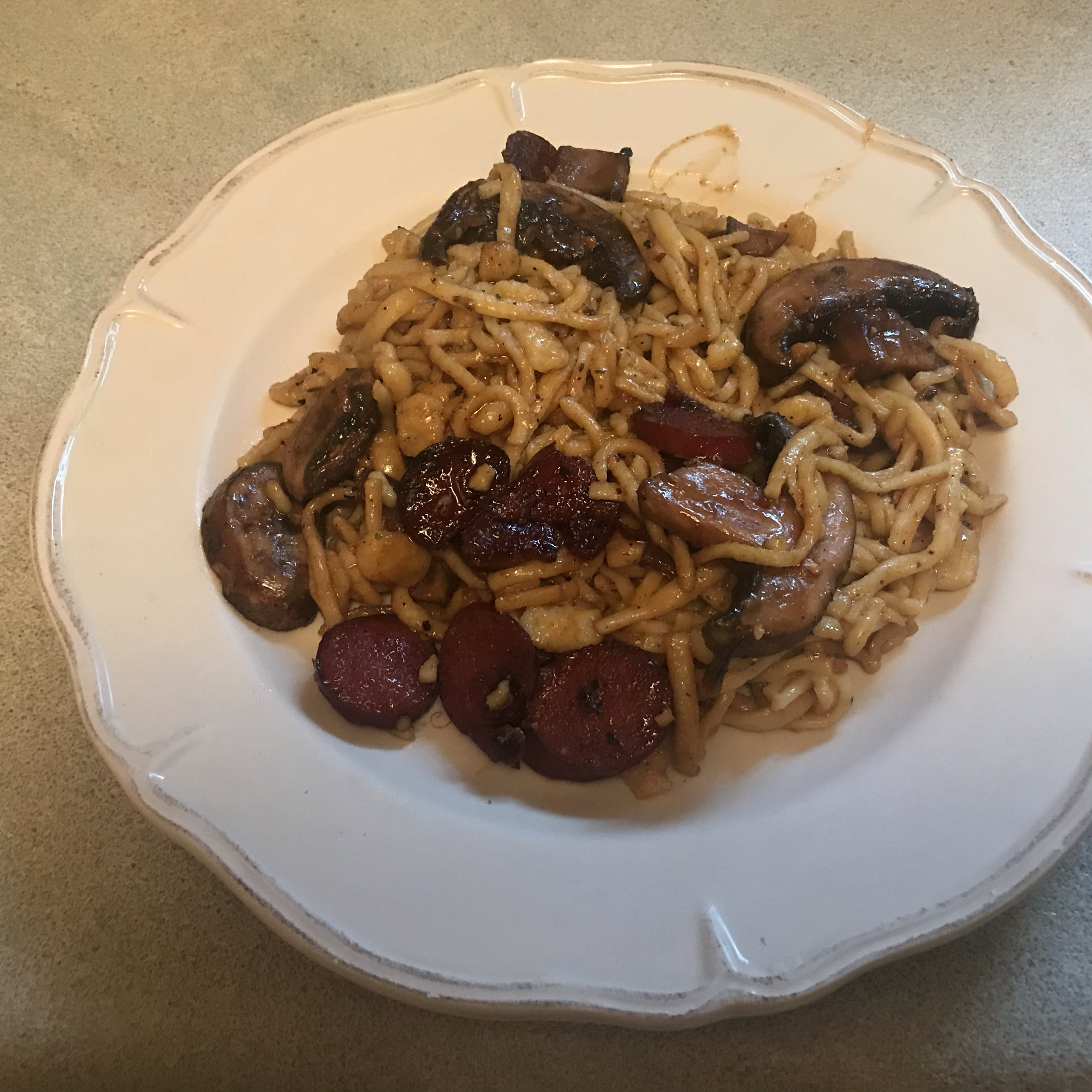 Sweet and Spicy Garlic Kielbasa with Sauteed Herb Spaetzle