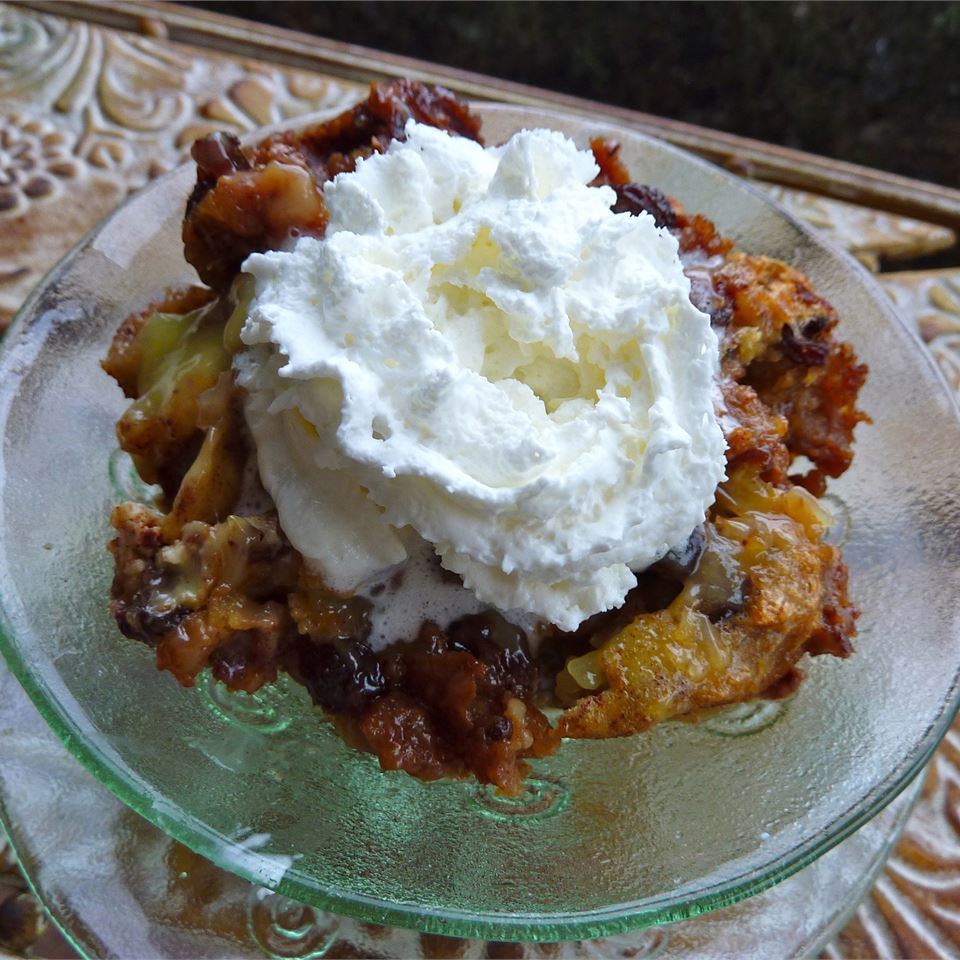 Rum Raisin Bread Pudding with Warm Vanilla Sauce lutzflcat
