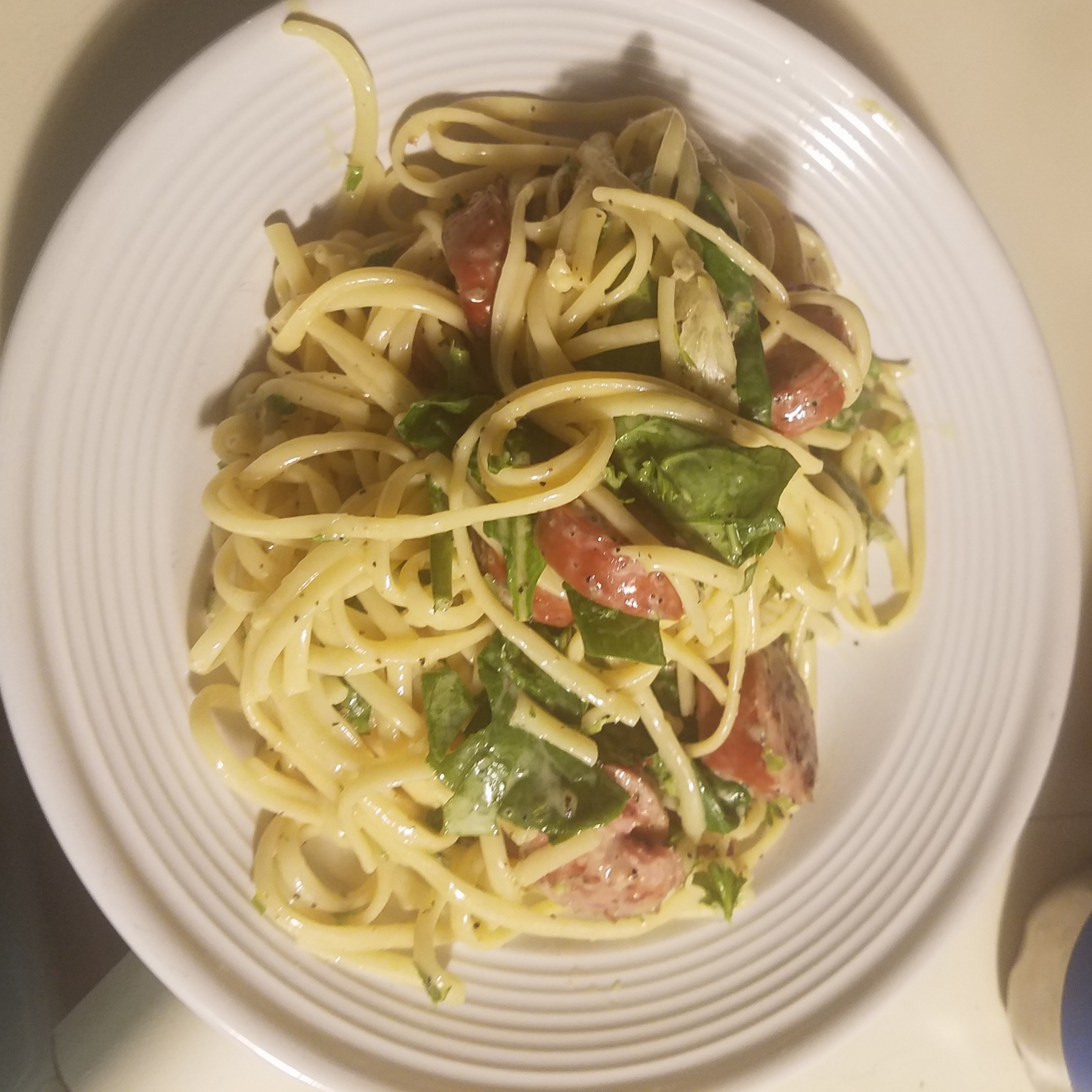 Linguine with Hillshire Farm® Smoked Sausage and Greens Brandy