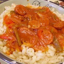 Easy Sausage, Peppers and Onions with Elbows Christina