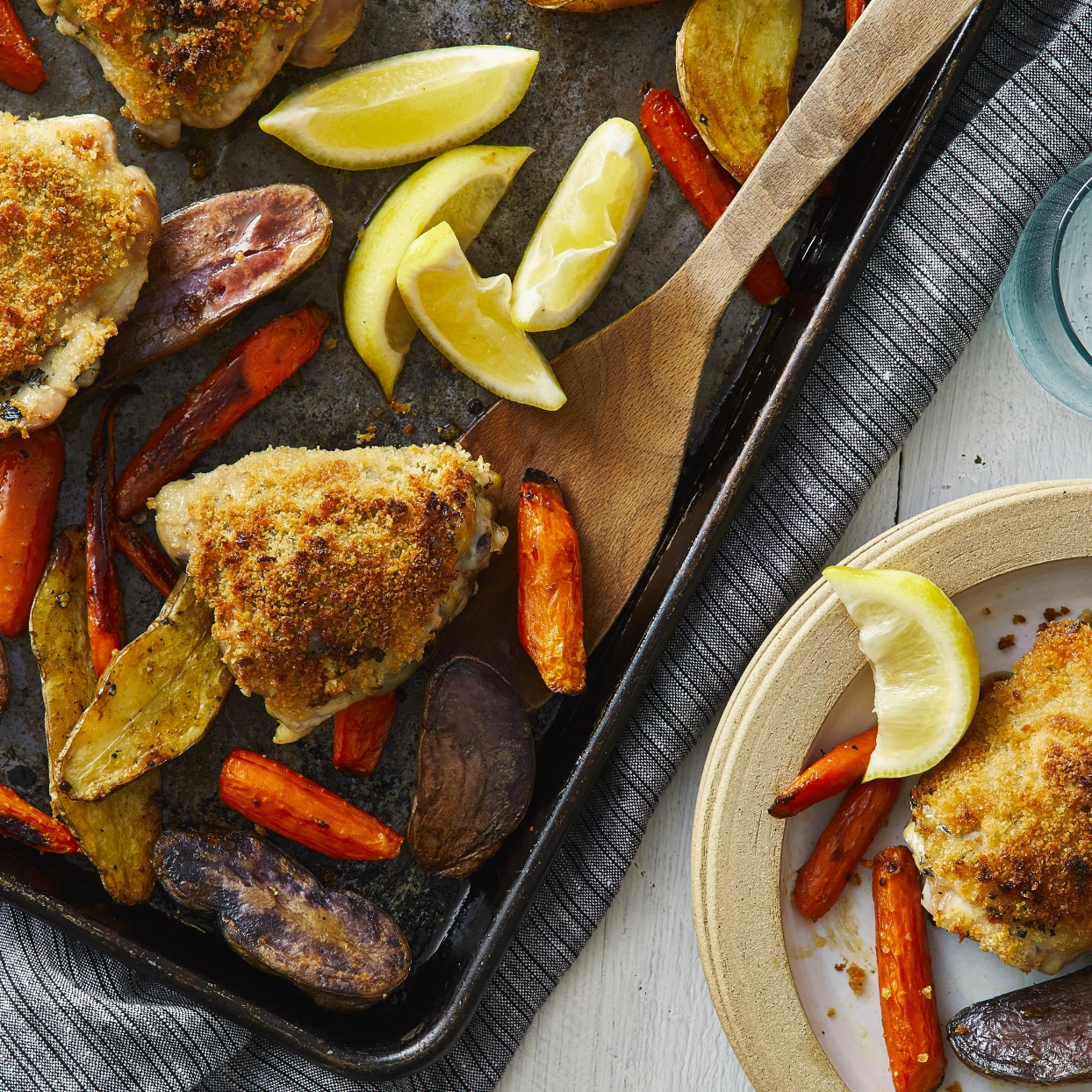 Crispy Lemon-Garlic Chicken Thighs with Roasted Potatoes & Carrots Carolyn Casner
