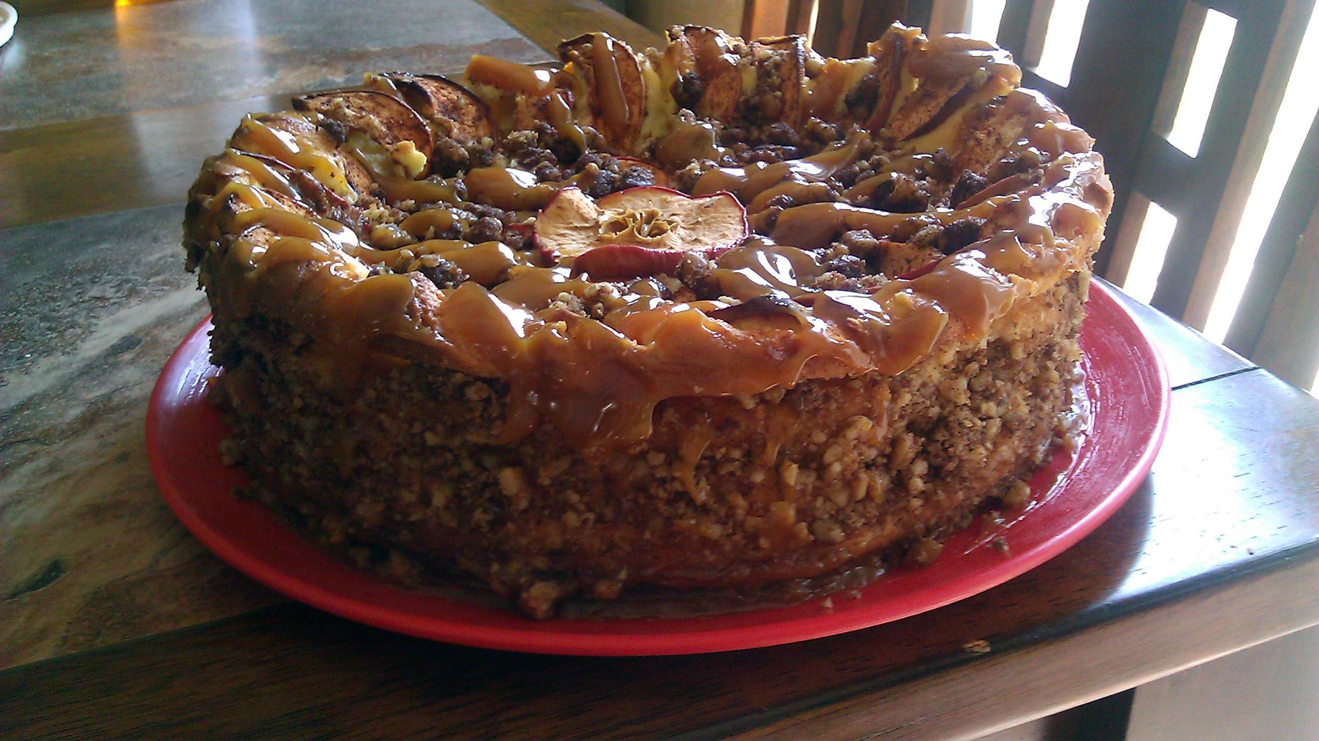 Caramel-Apple-Walnut Cheesecake