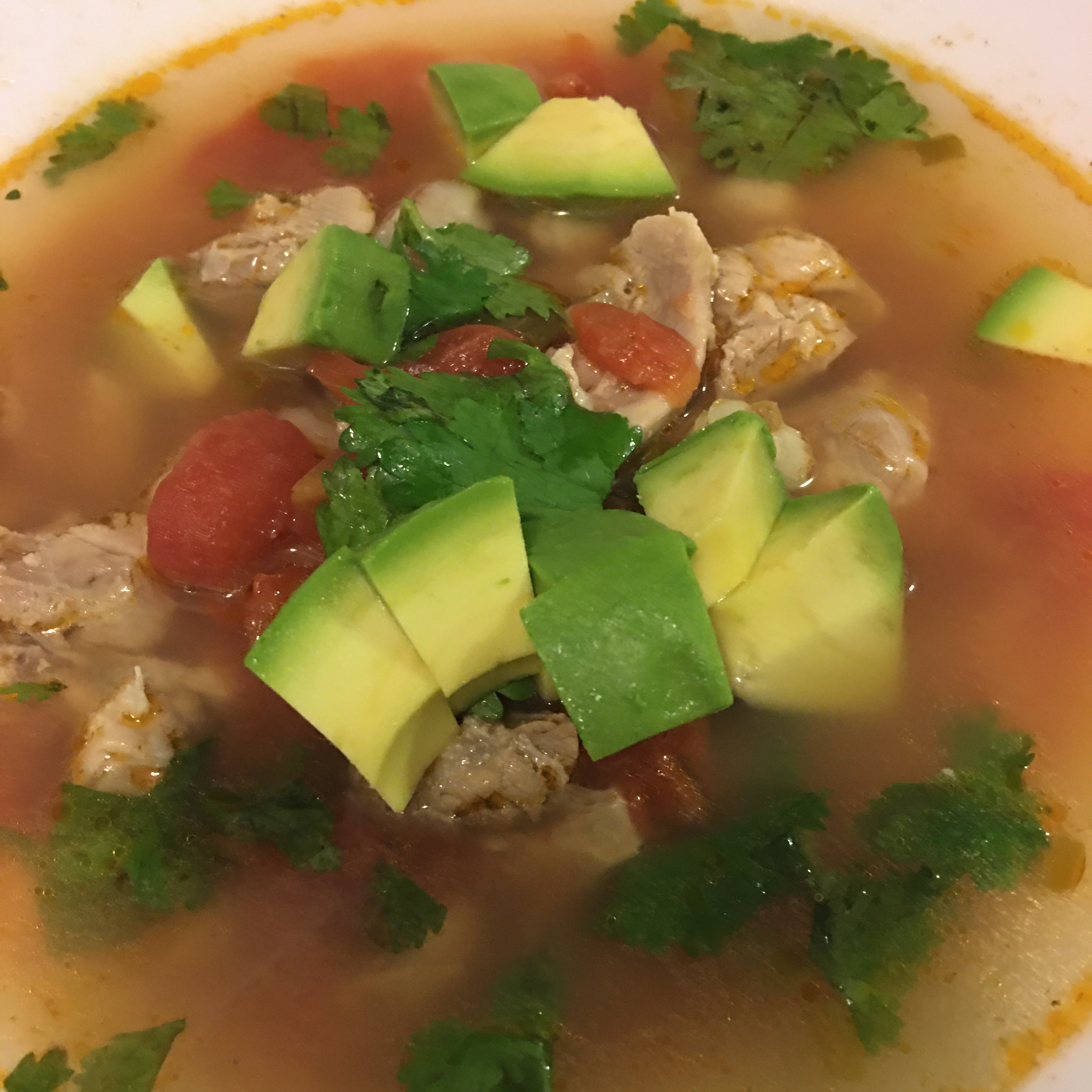 Chicken and Hominy Soup with Lime and Cilantro lisa clark