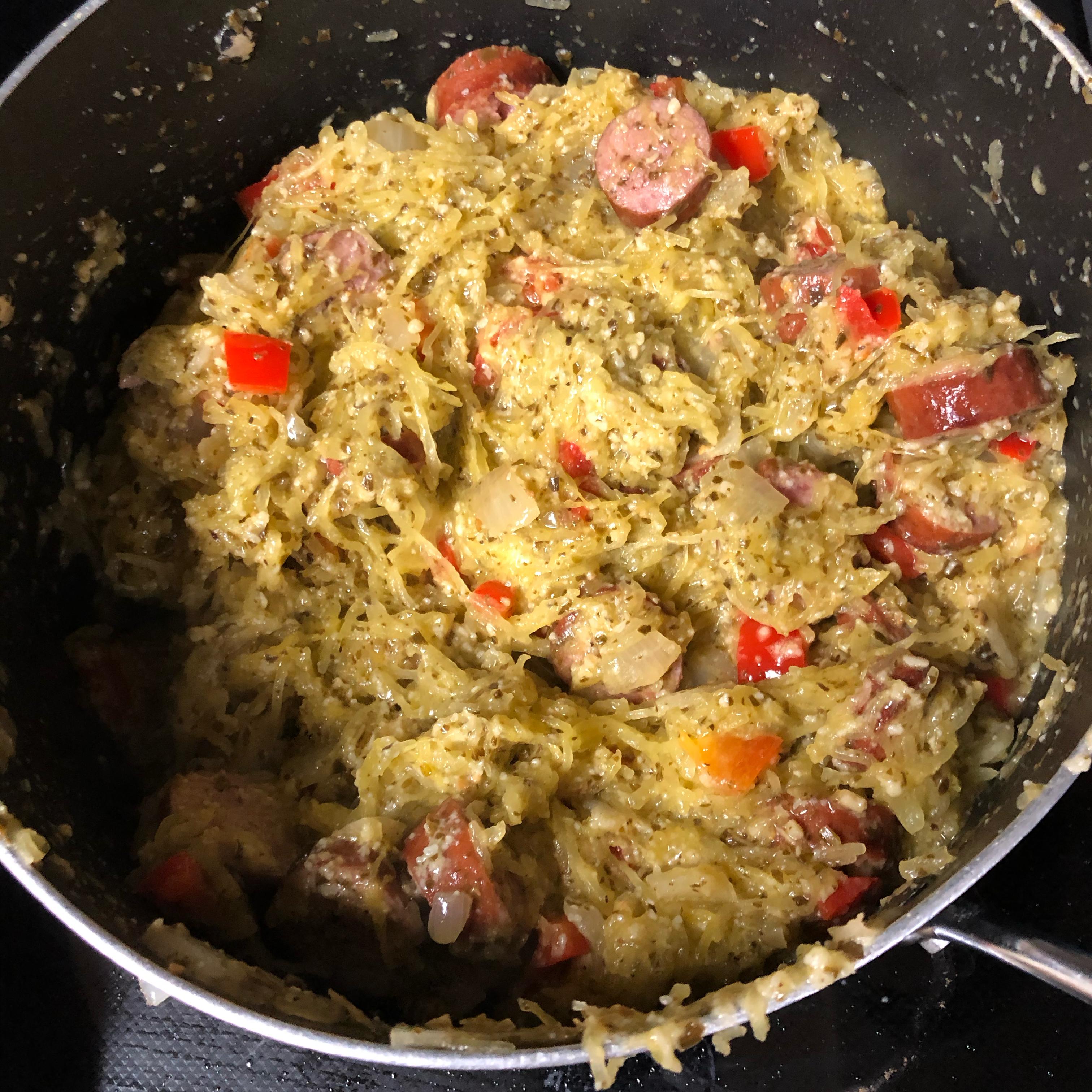 Pesto Spaghetti Squash Skillet with Hillshire Farm® Smoked Sausage Amanda Hecker