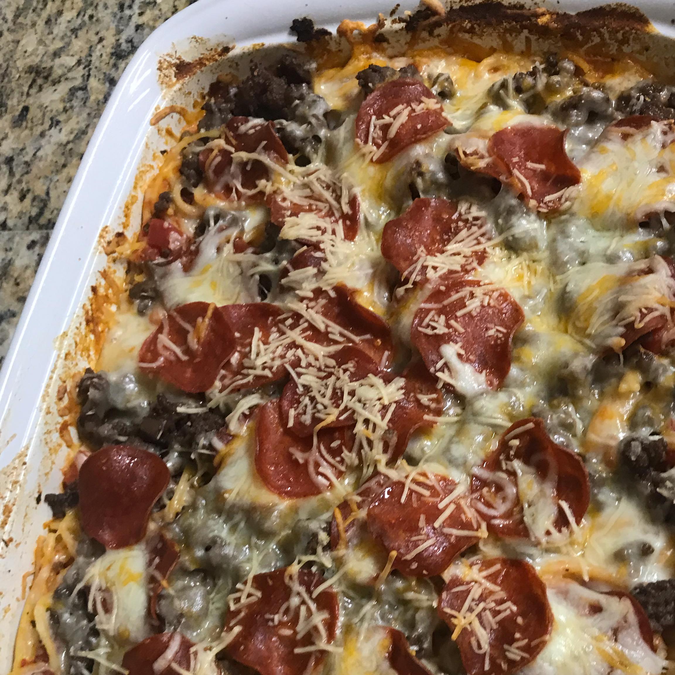 Pizza Spaghetti Casserole
