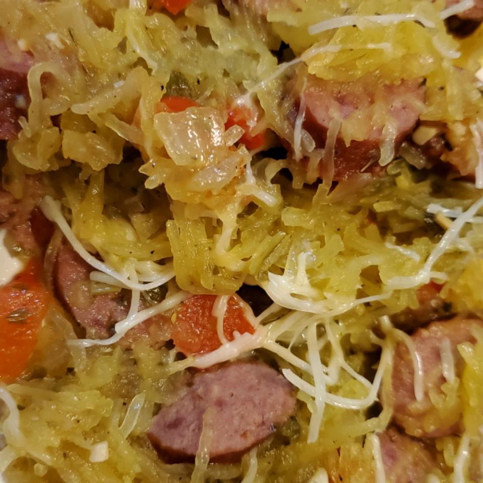 Pesto Spaghetti Squash Skillet with Hillshire Farm® Smoked Sausage Karen Hendrix