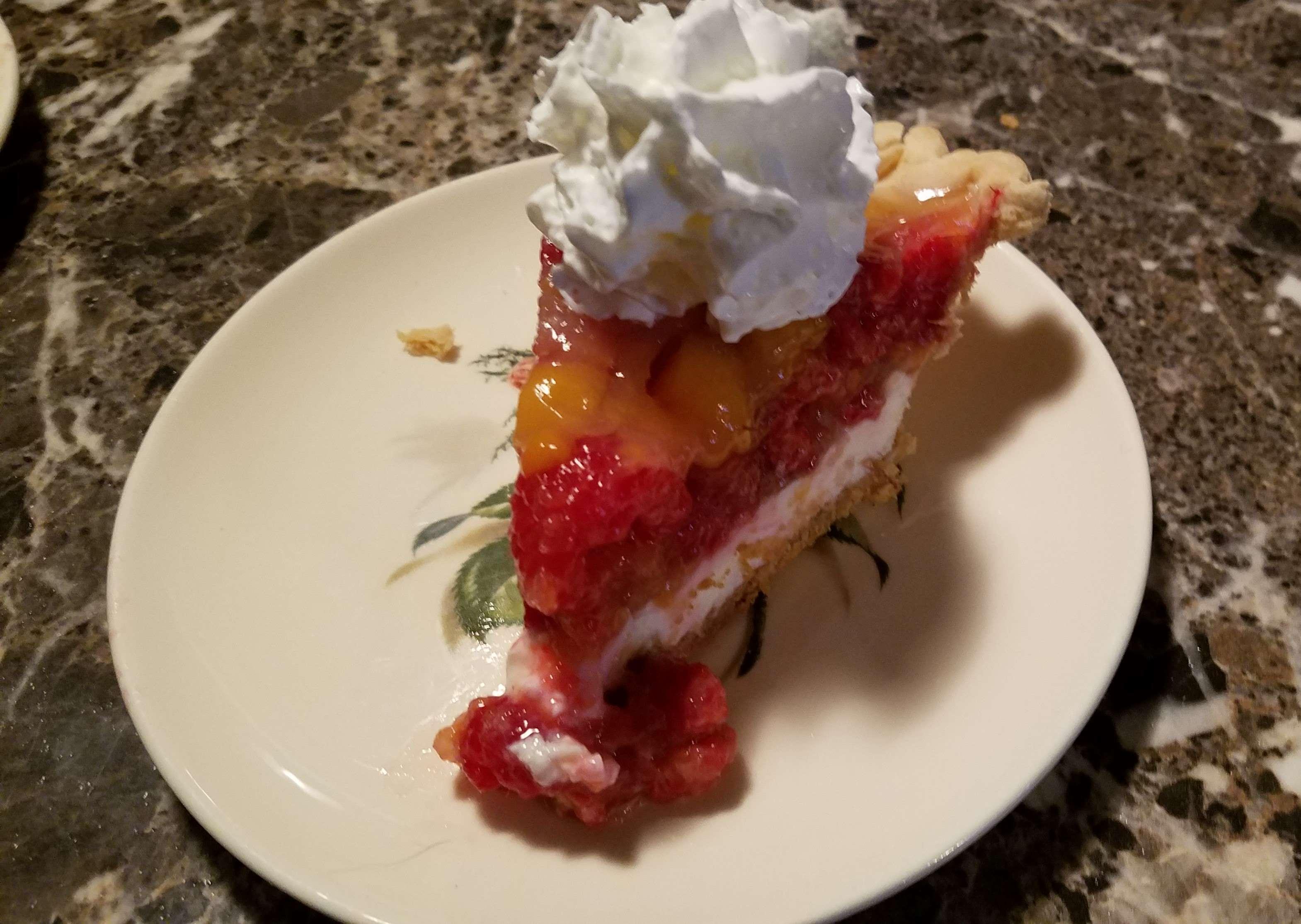 Peach-Glazed Raspberry and Cream Cheese Pie